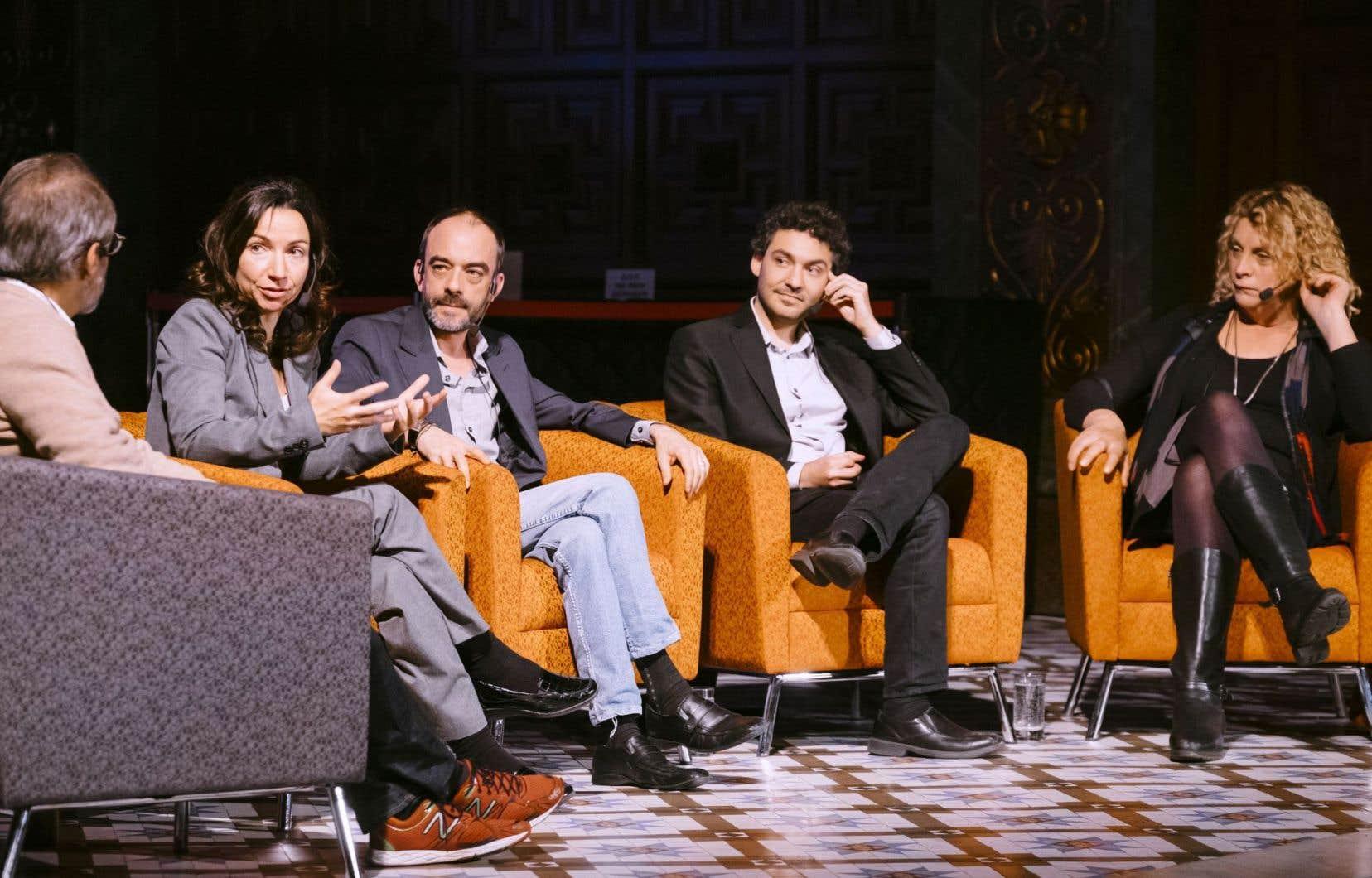 Le débat réunissait Martine Ouellet, Ianik Marcil, Guillaume Blum et Michelle Blanc.