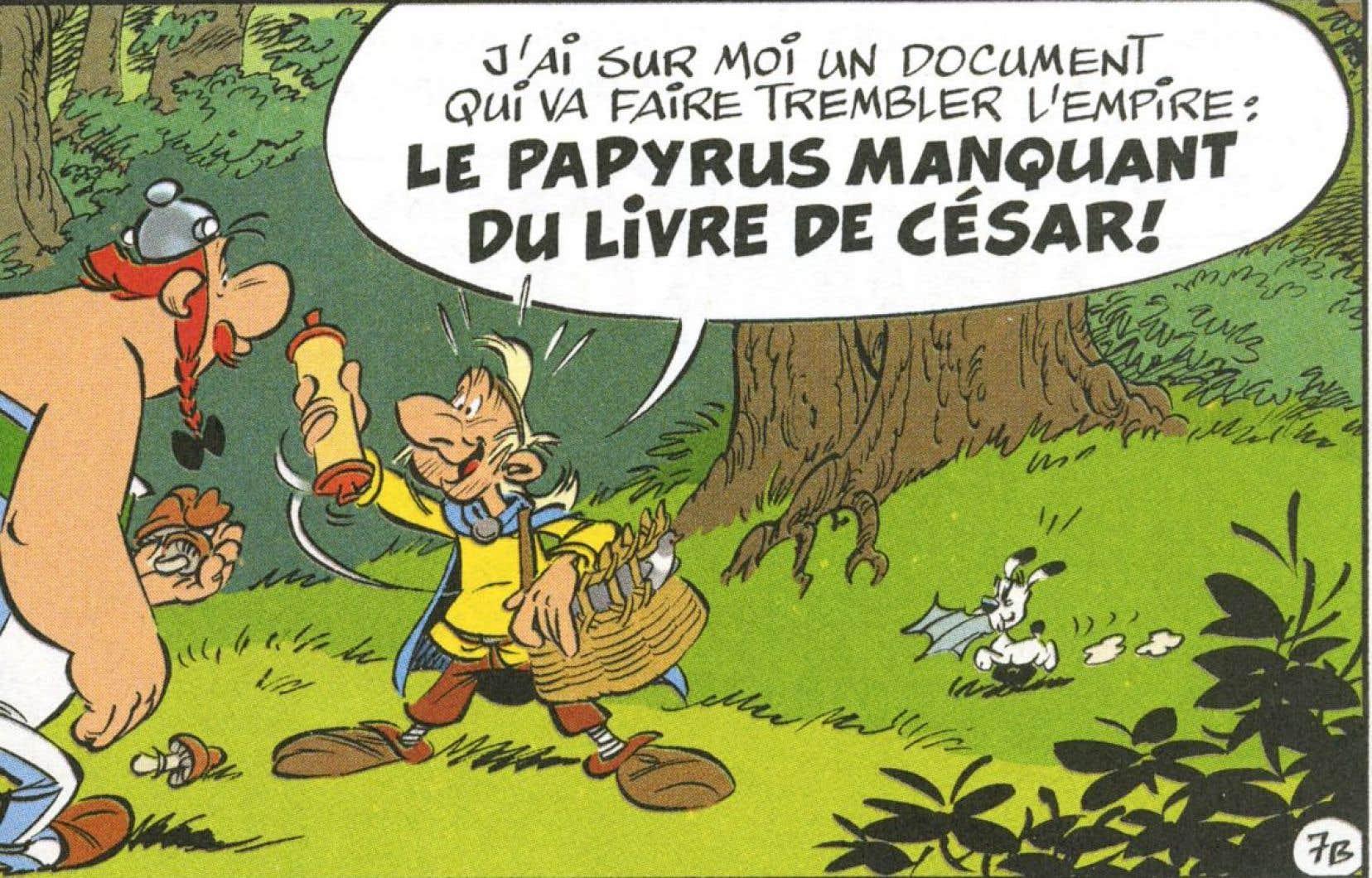 «Le papyrus de César» introduit Doublepolemix (à droite), un personnage calqué sur le fondateur de WikiLeaks, Julian Assange.