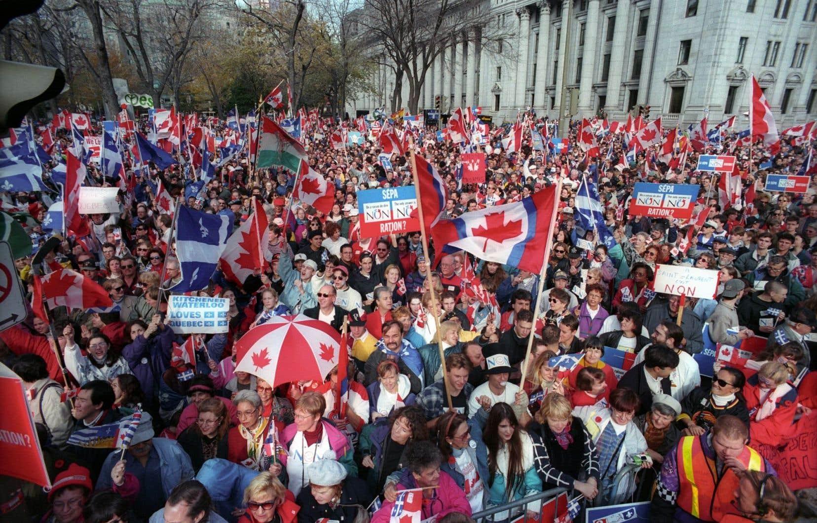 Pour le fameux «love-in» du 27octobre 1995, des centaines de milliers de Canadiens ont convergé vers Montréal grâce à des tarifs intéressants pratiqués par les grandes compagnies de transport.