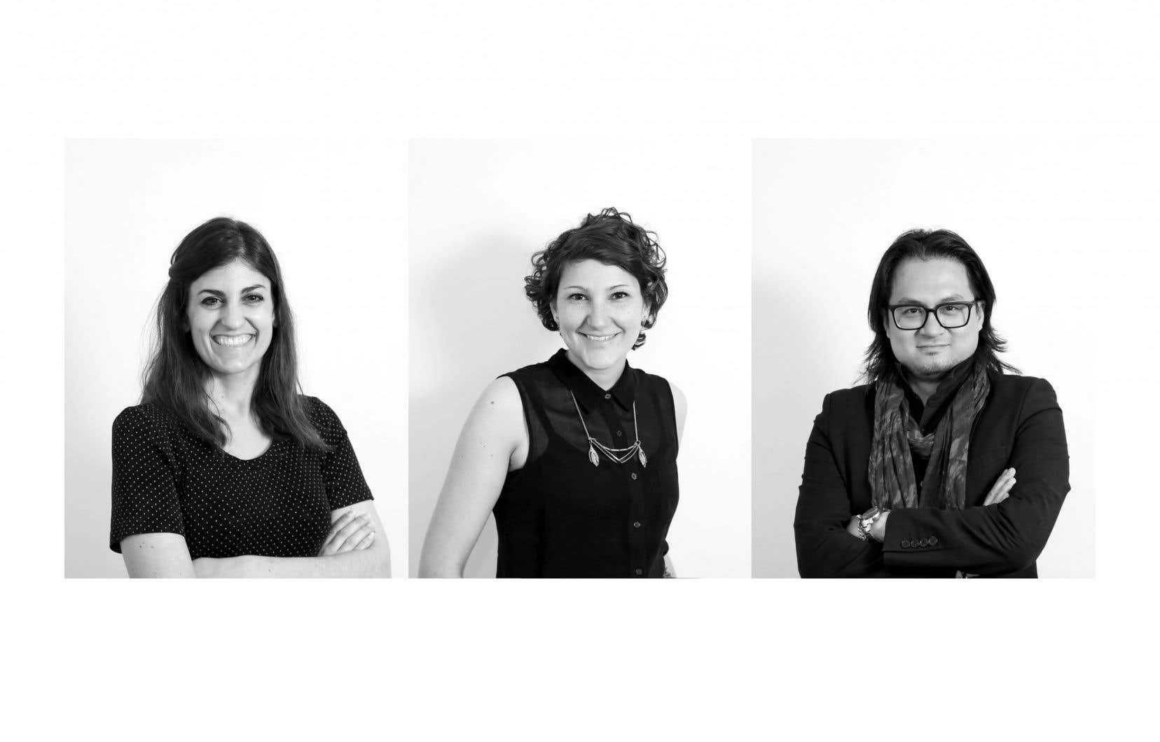 L'équipe de Fibres collectives: Myriam Benoit, Andréanne Courchesne et Duc C. Nguyên