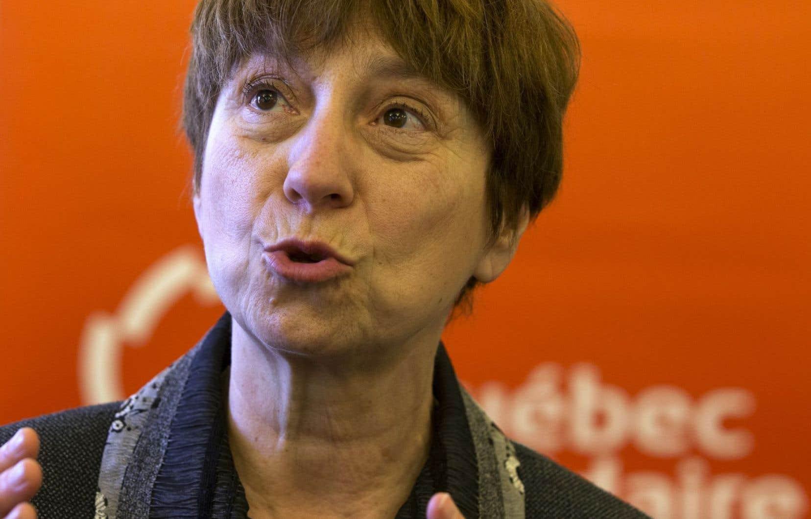 Les régions sont également très touchées par les effets de l'austérité, note la porte-parole de Québec Solidaire Françoise David.