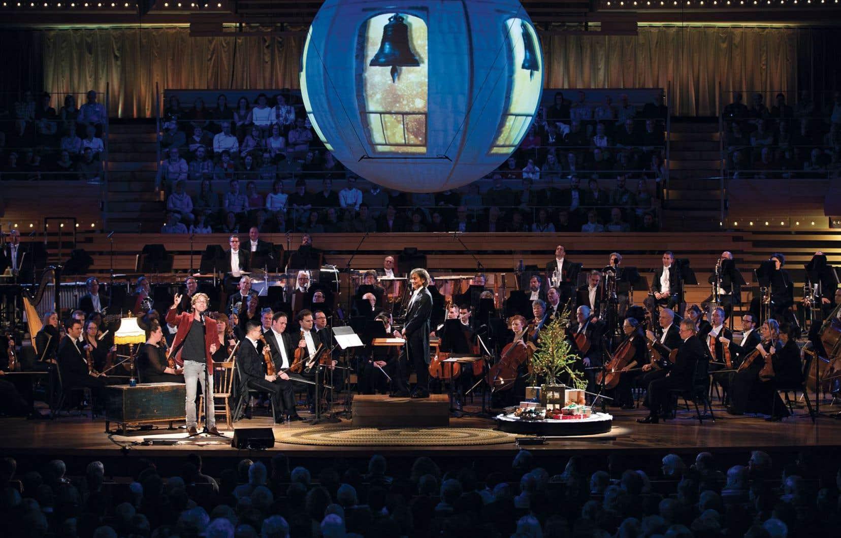 Fred Pellerin à la Maison symphonique lors du spectacle Il est né le divin enfin!avec l'Orchestre symphonique de Montréal, le 9décembre dernier.