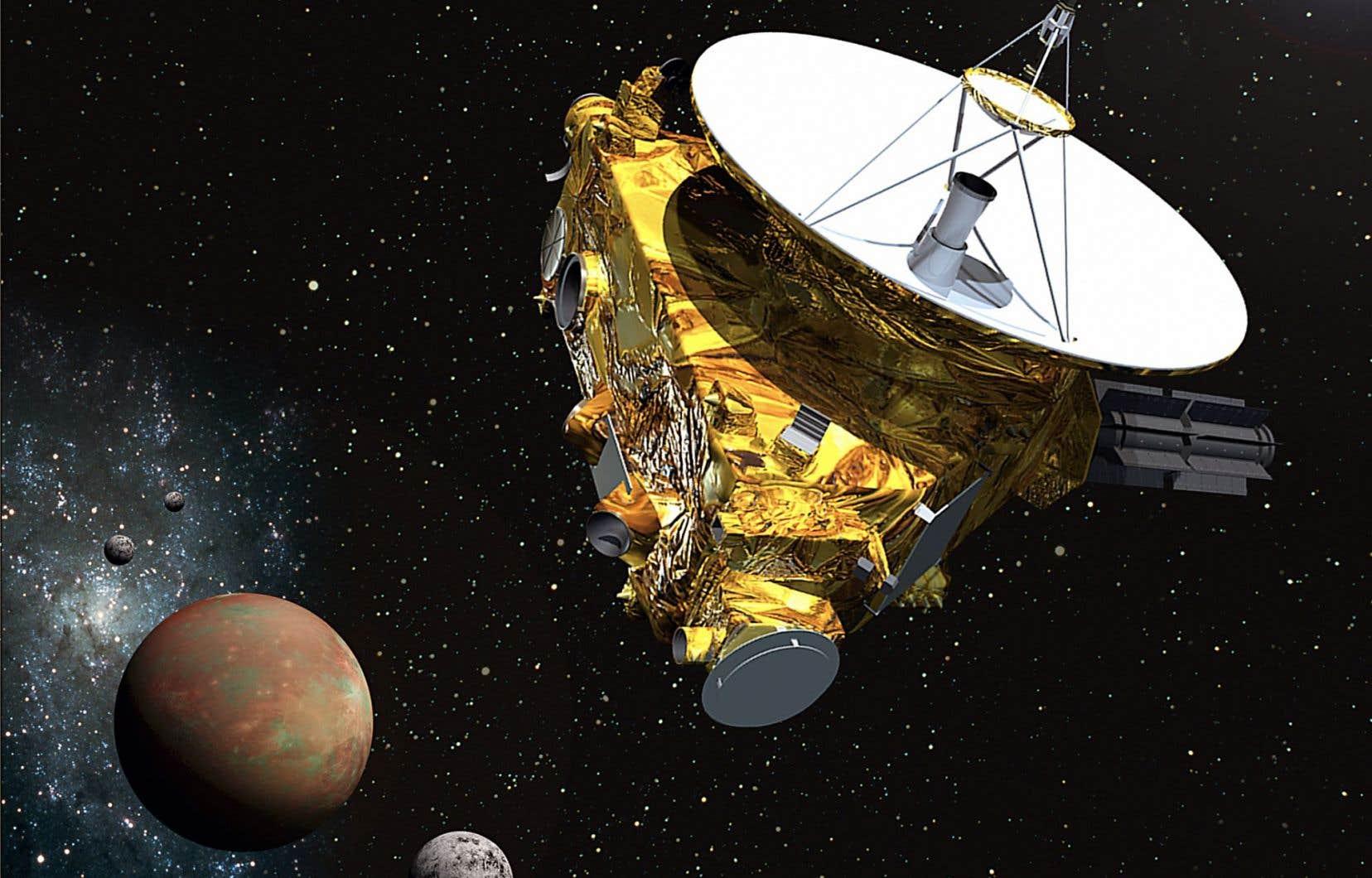 Une représentation graphique montrant la sonde «New Horizons» s'approchant de Pluton et ses trois lunes