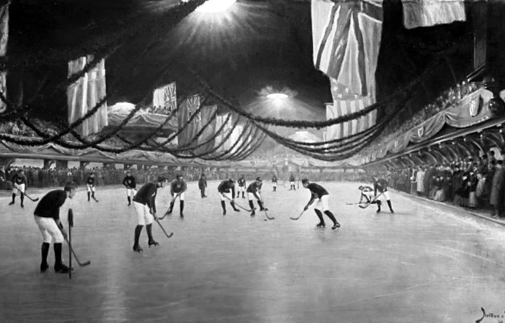 À son ouverture en 1862, le Victoria Skating Rink, rue Drummond, à Montréal, accueille des matchs de hockey (ici en 1893). Il sera également le premier bâtiment électrifié du Canada.