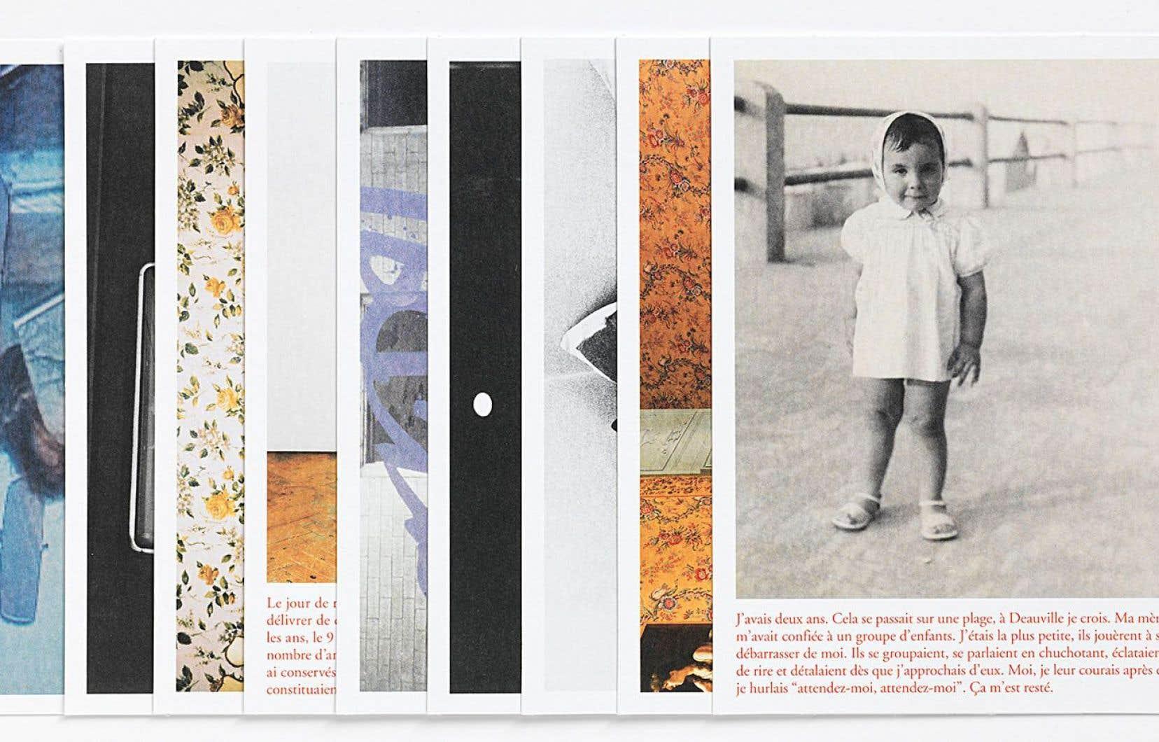 Sur chaque carte postale, une photo. Et, tout en bas, un court texte qui en éclaire le contexte.
