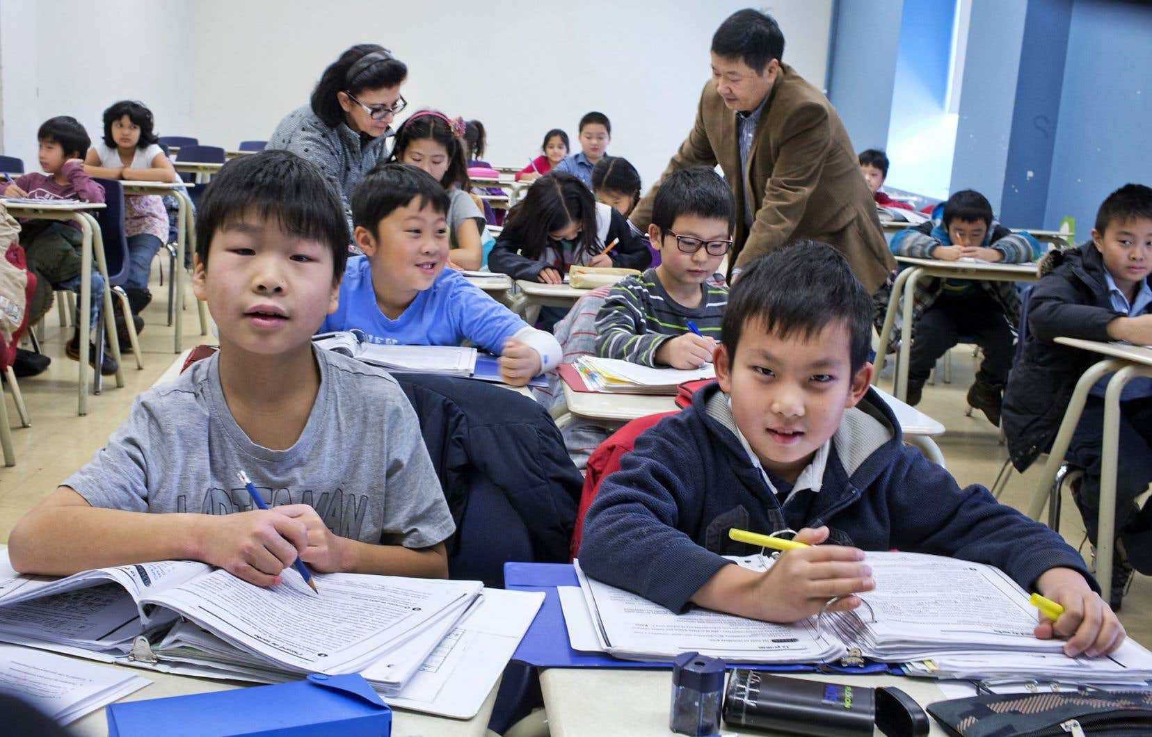Des photos prises dans les classes du collège Elite, installées au cégep de Saint-Laurent à Montréal.