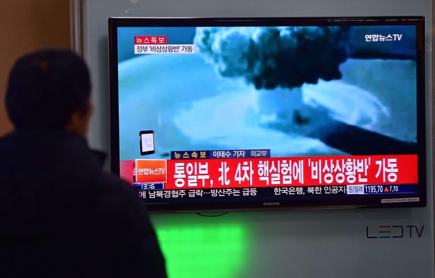 Les Sud-Coréens ont pu voir l'essai nucléaire qu'aurait effectué Pyongyang.