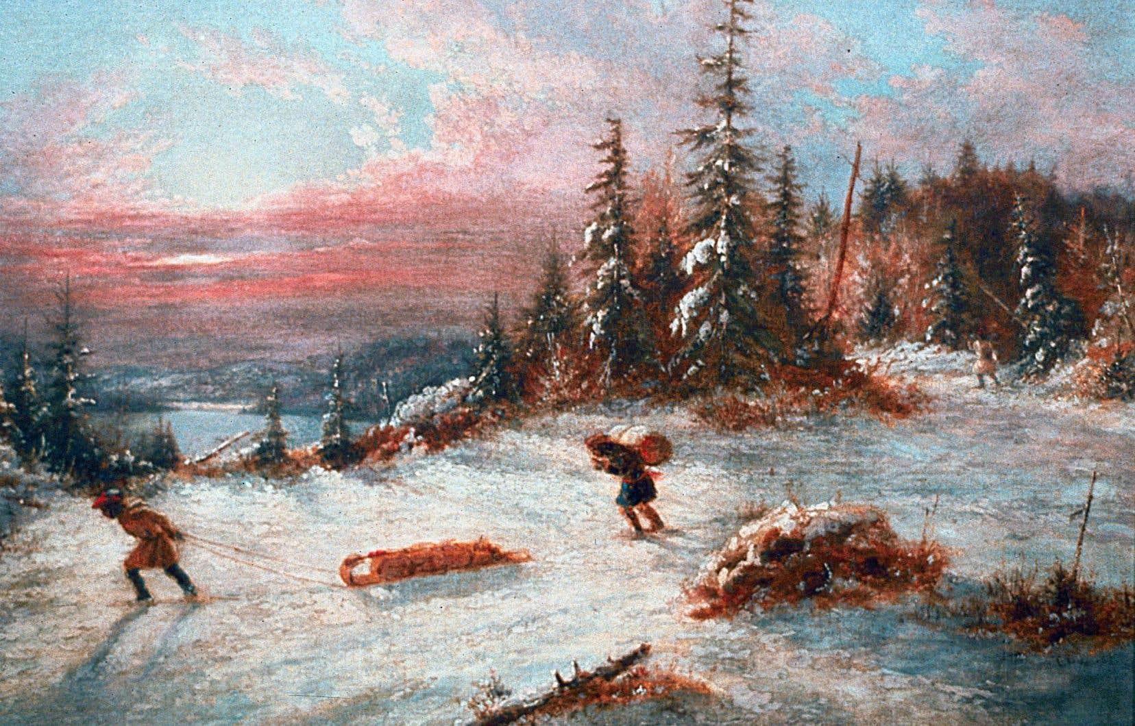 Détail du tableau «Coureurs des bois au coucher du soleil, en hiver», de Cornelius Krieghoff (1815-1872). L'oeuvre est un legs d'Arnold Wainwright.