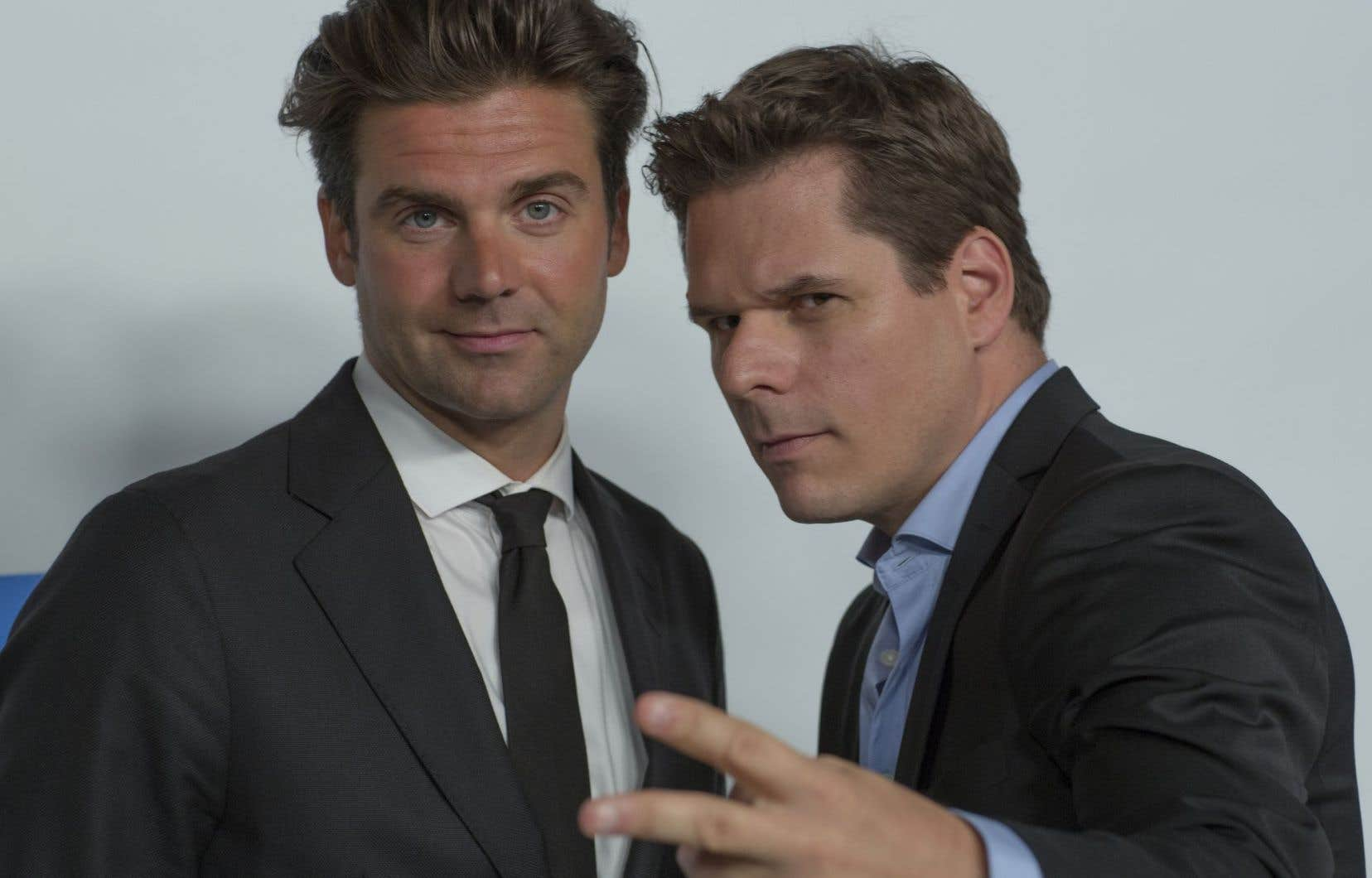 Les coanimateurs de l'émission «Deux hommes en or», Jean-Philippe Wauthier et Patrick Lagacé