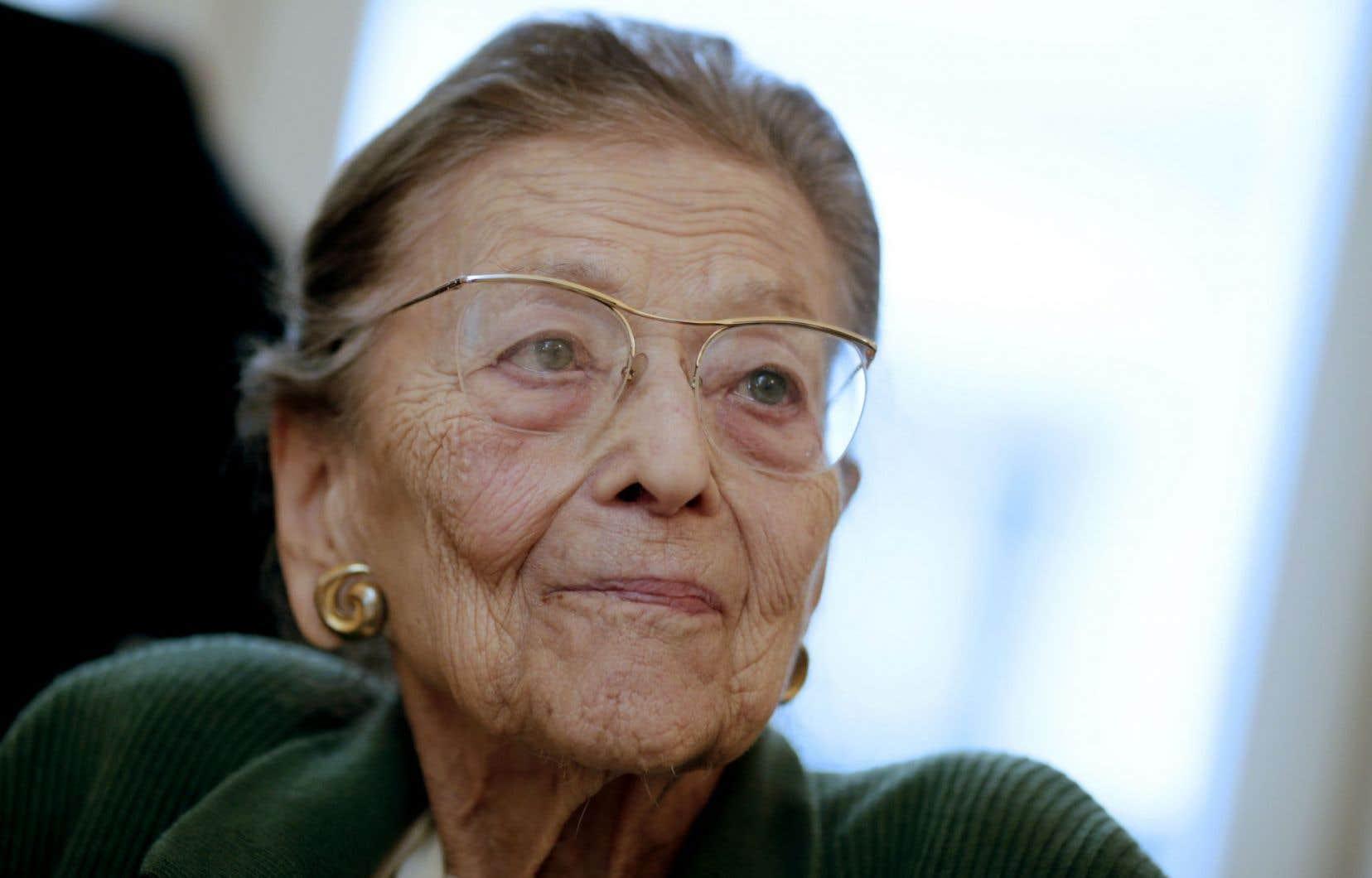 Edmonde Charles-Roux, en janvier 2014, alors qu'elle était encore présidente de l'Académie Goncourt.