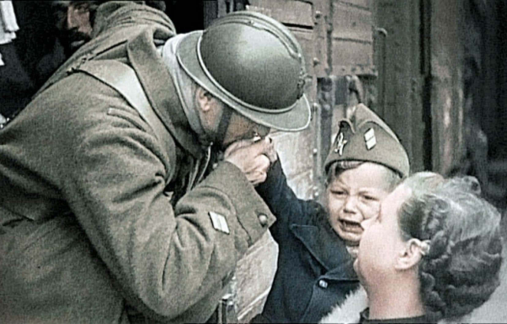 Un simple soldat part pour le front (image tirée de la série Apocalypse).