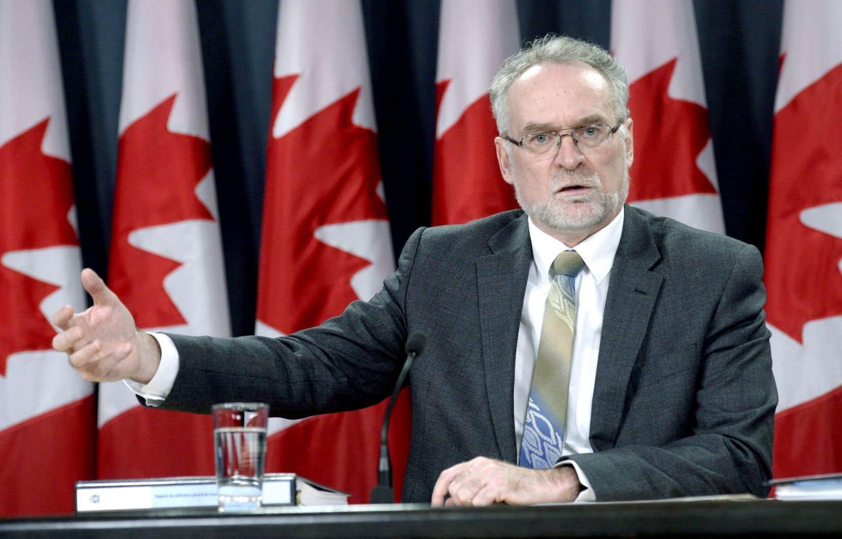 Le vérificateur général du Canada, Michael Ferguson, a livré ses observations, mardi à Ottawa.