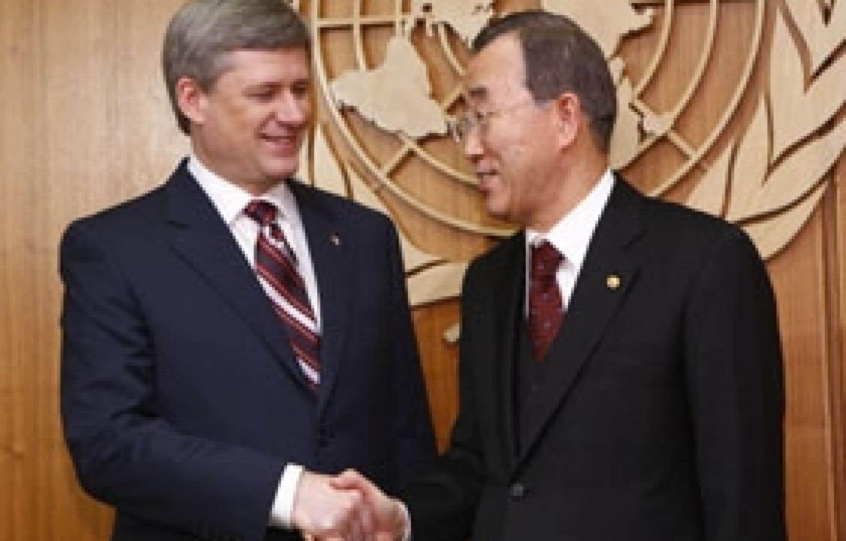 Le premier ministre Stephen Harper a été reçu par le secrétaire général de l'ONU, Ban Ki-moon.