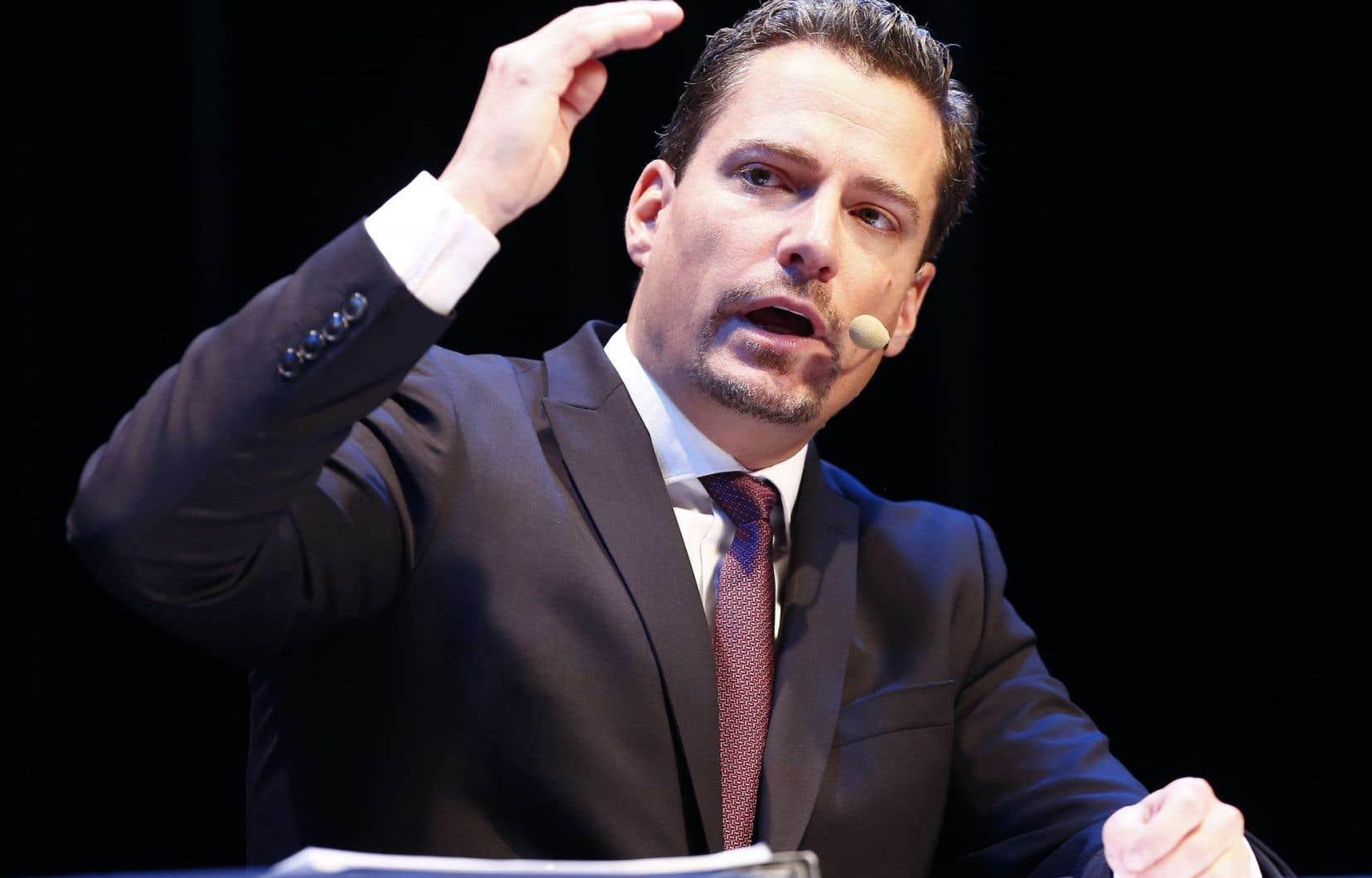 Le chef du parti Démocratie Québec durant la campagne électorale, David Lemelin