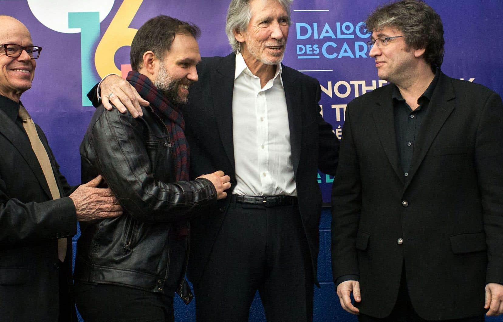 Michel Beaulac, directeur artistique de l'Opéra de Montréal, Julien Bilodeau, compositeur, Roger Waters et Alain Trudel, chef d'orchestre, ont participé au dévoilement de la programmation de la saison 2016-2017 de l'Opéra de Montréal.