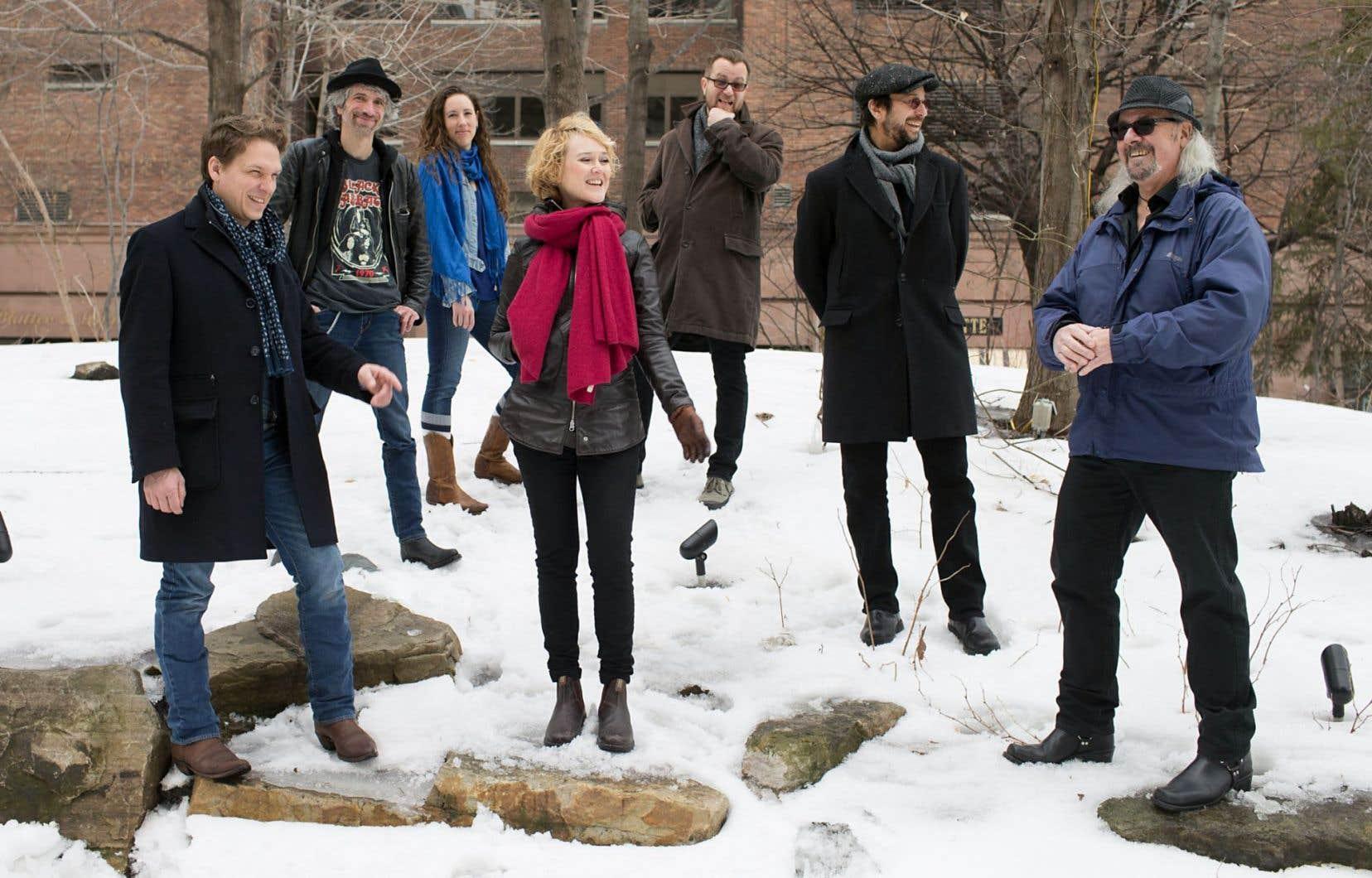 Carl Prévost, Éric Goulet, Ariane Ouellet, Mara Tremblay, Luc De Larochellière, Michel Rivard et Gilles Bélanger