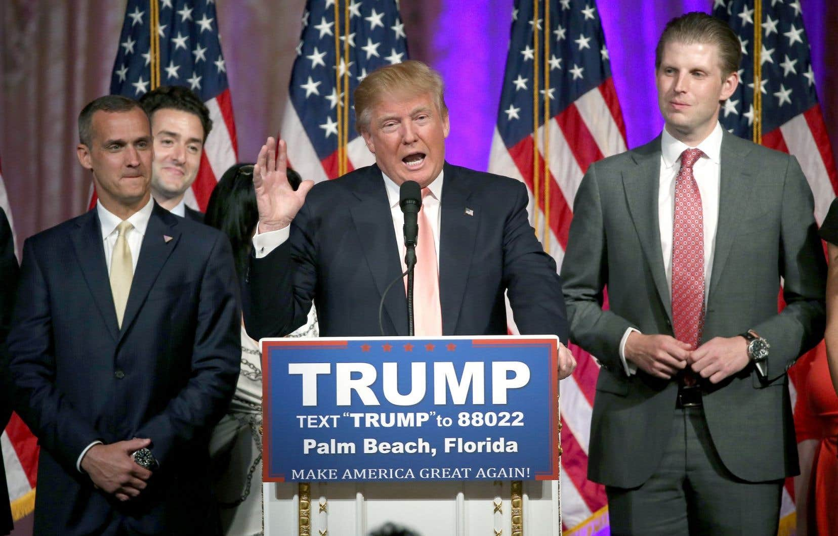 Donald Trump, mardi soir, lors de son discours de victoire à Palm Beach, en Floride