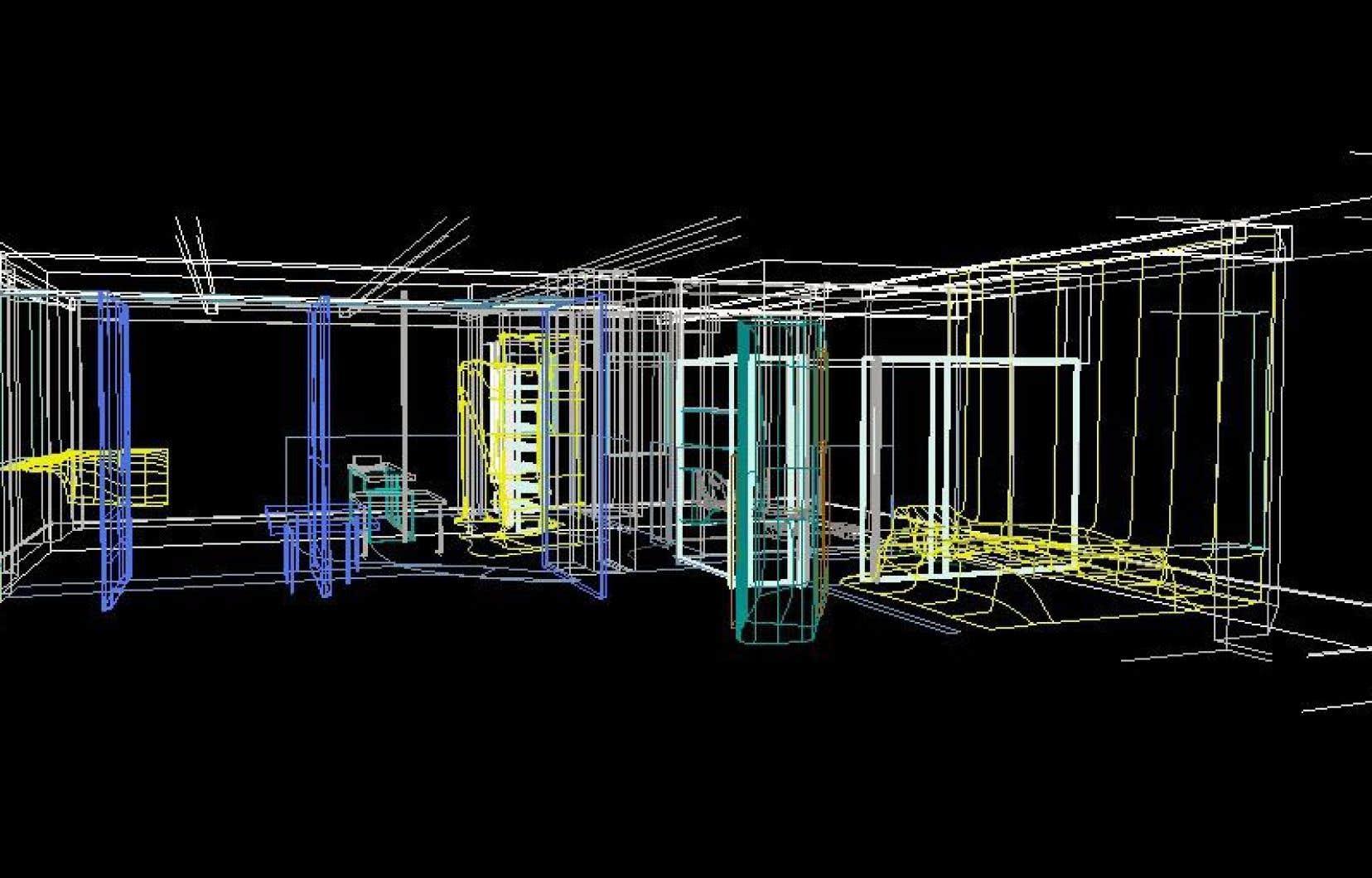 Kolatan/Mac Donald Studio, O/K Apartment: capture d'écran d'un fichier Microstation 3D, 1995