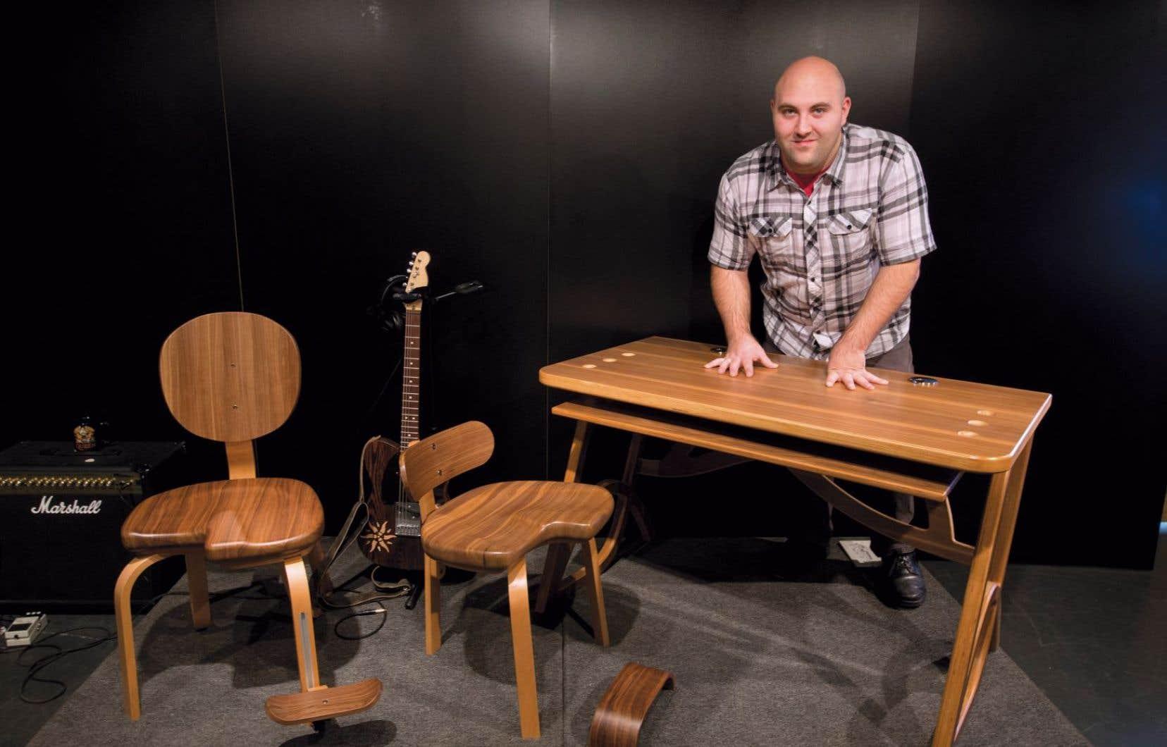 La chaise «Dezba» pour les guitaristes et les bassistes par Marc-André Talissé, un finissant du DEC