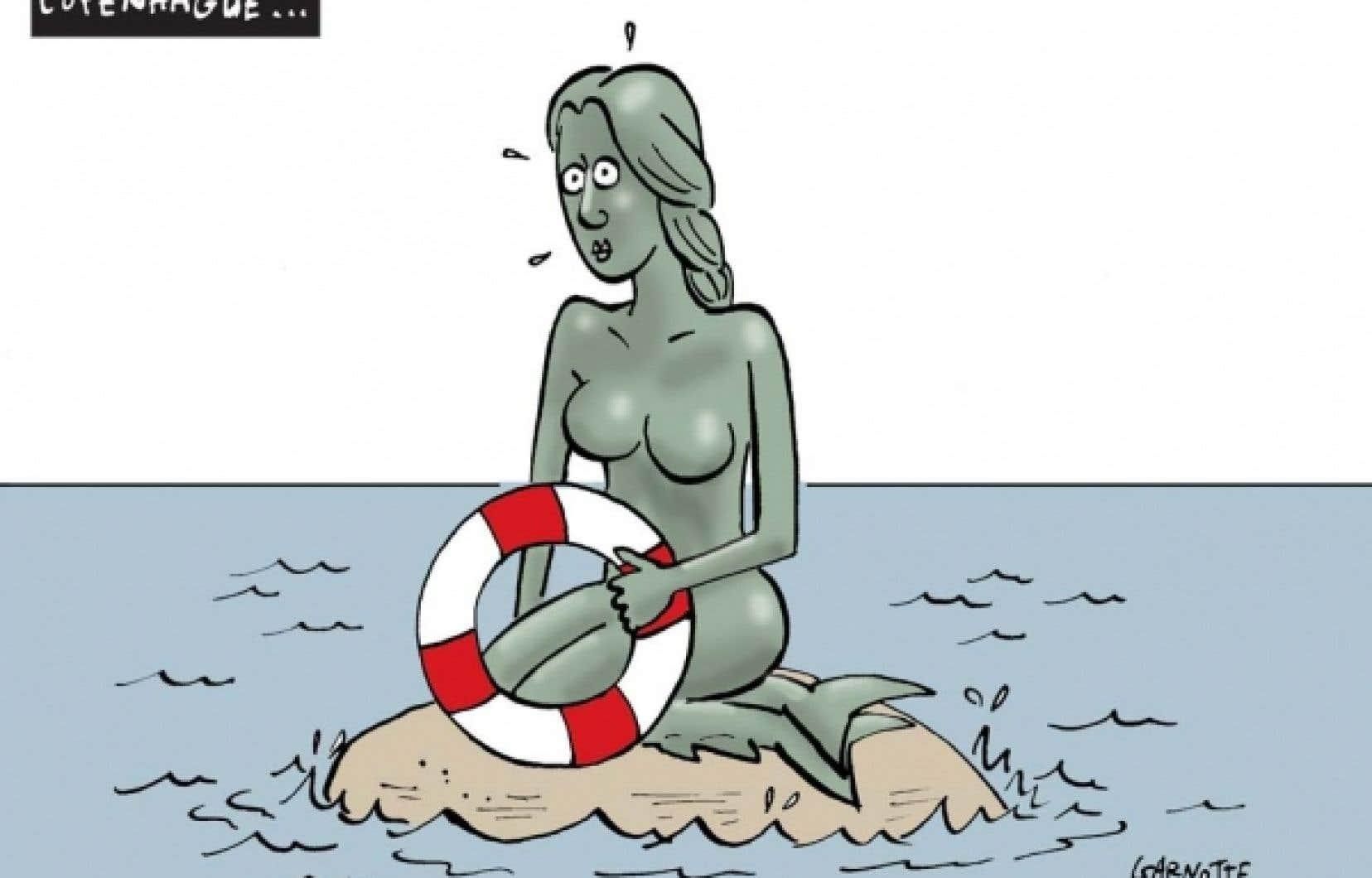 La petite sirène de Copenhague, caricature de Garnotte publiée le 11 décembre