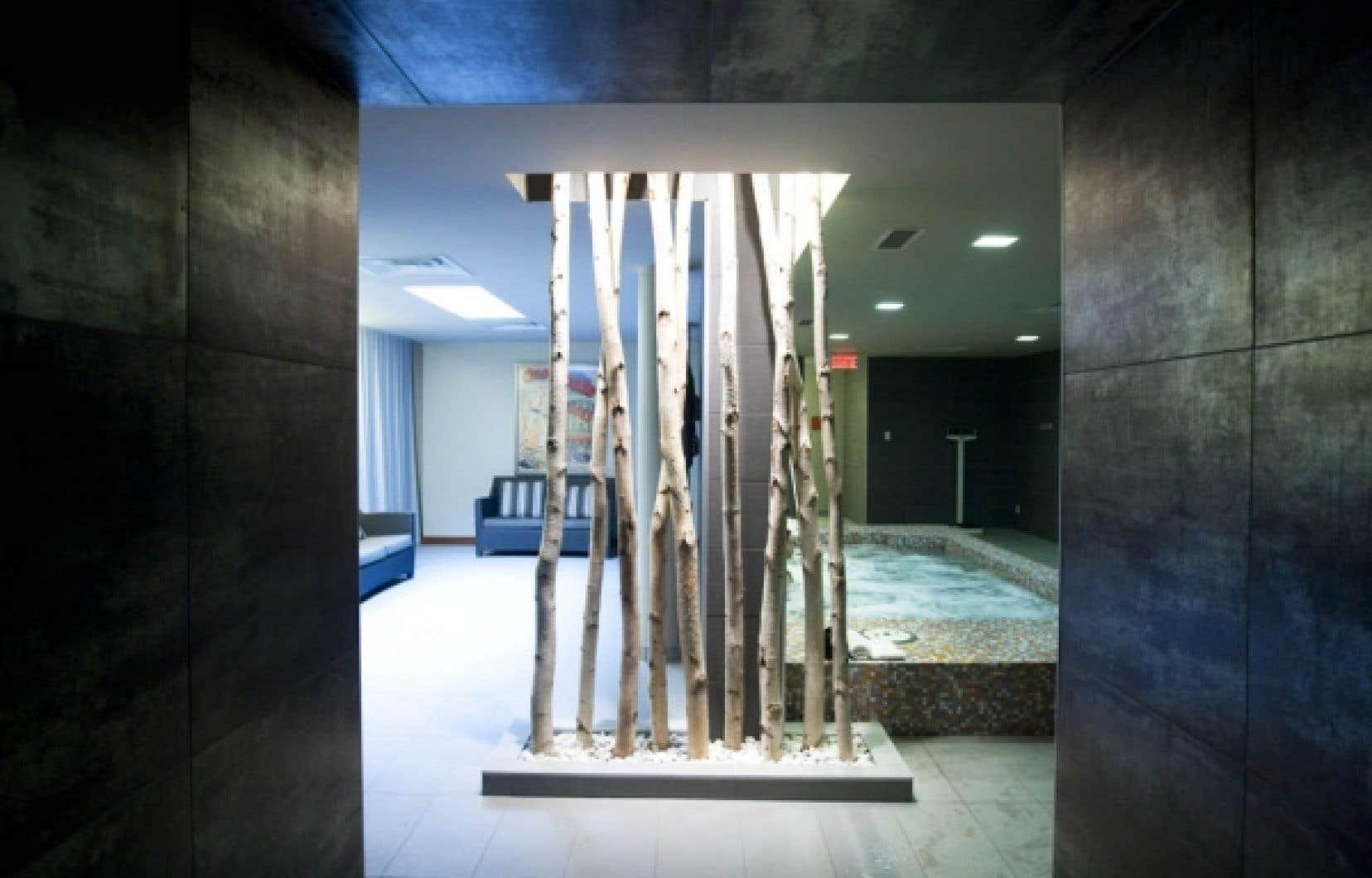 Dans le vestiaire des hommes, la fin de l'allée des douches débouche sur le salon, le bain troubillon, le sauna et le spa. Rythmée par un éclairage graphique et des changements de matériaux à chaque station, l'allée se termine sur la mise en scène d'un paysage de troncs de bouleau rétroéclairé, en hommage à quelques arbres qu'il a fallu sacrifier lors de la transformation du complexe.