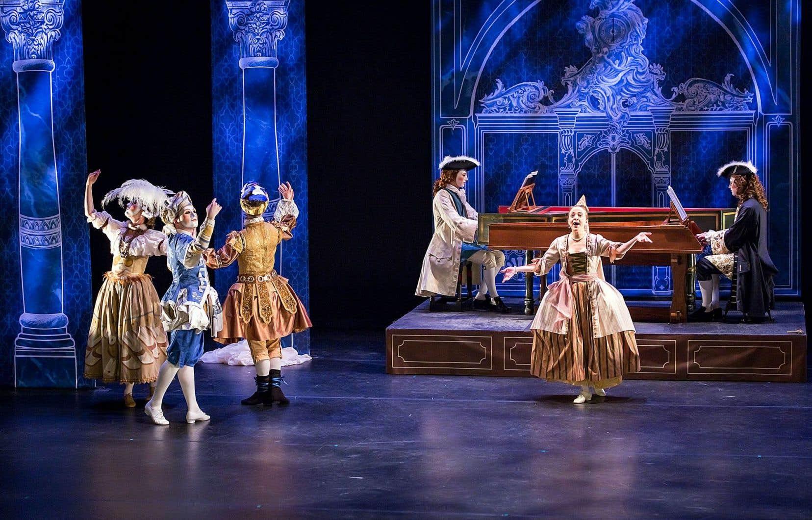 «La veuve Rebel à la foire Ville-Marie» est un spectacle de musique, de chant, de danse et de théâtre inspiré par les théâtres de foire du XVIIIesiècle.