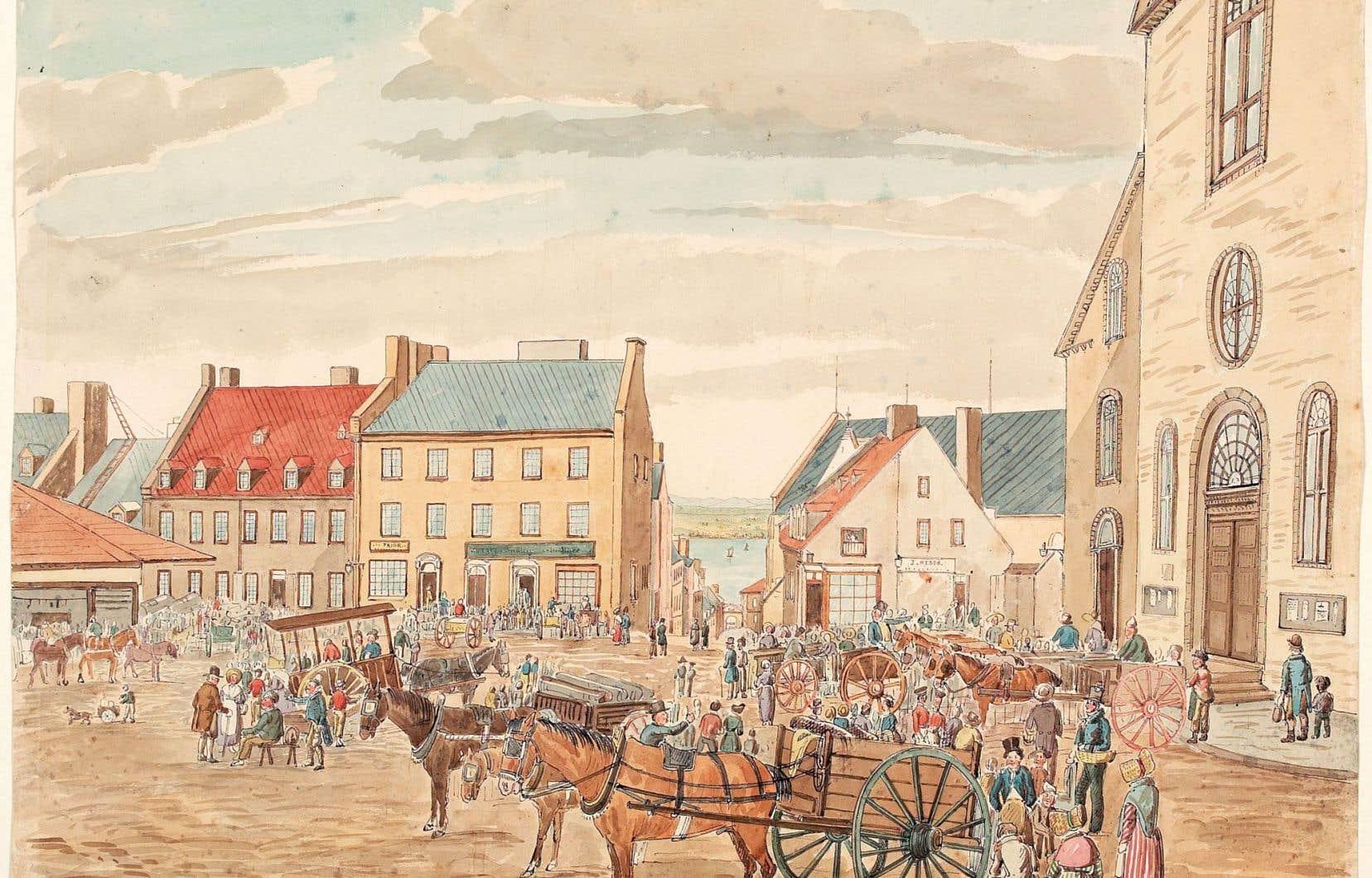 «La place du marché à Québec, 26 juin 1829»
