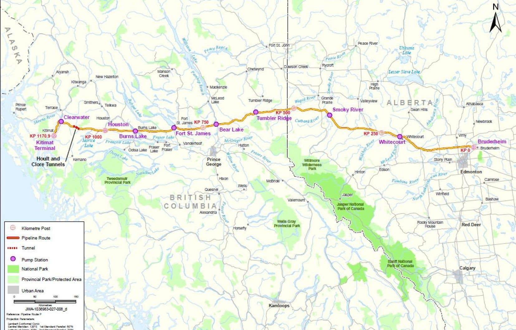 La carte du pipeline Northern Gateway