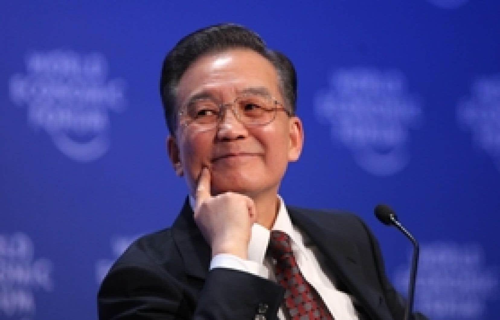 Le premier ministre chinois Wen Jiabao, hier, lors de son allocution au Forum économique mondial.