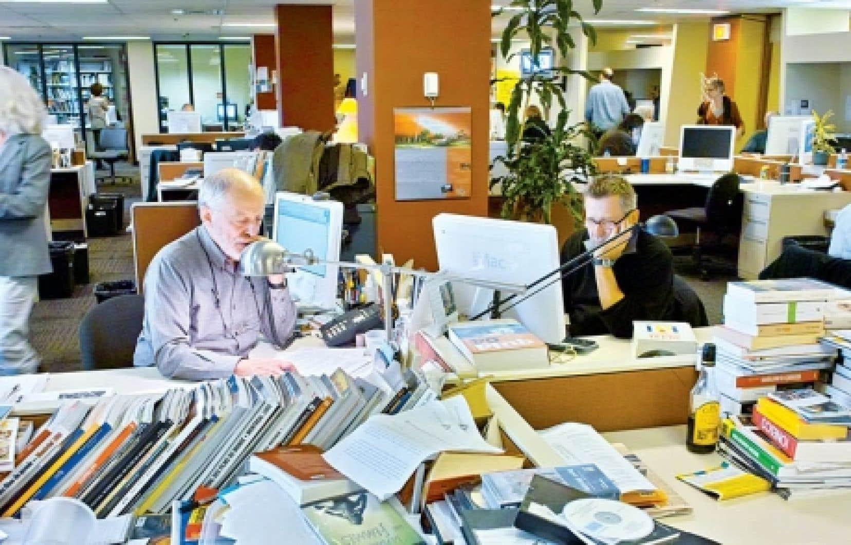 La salle de rédaction du Devoir, en 2010