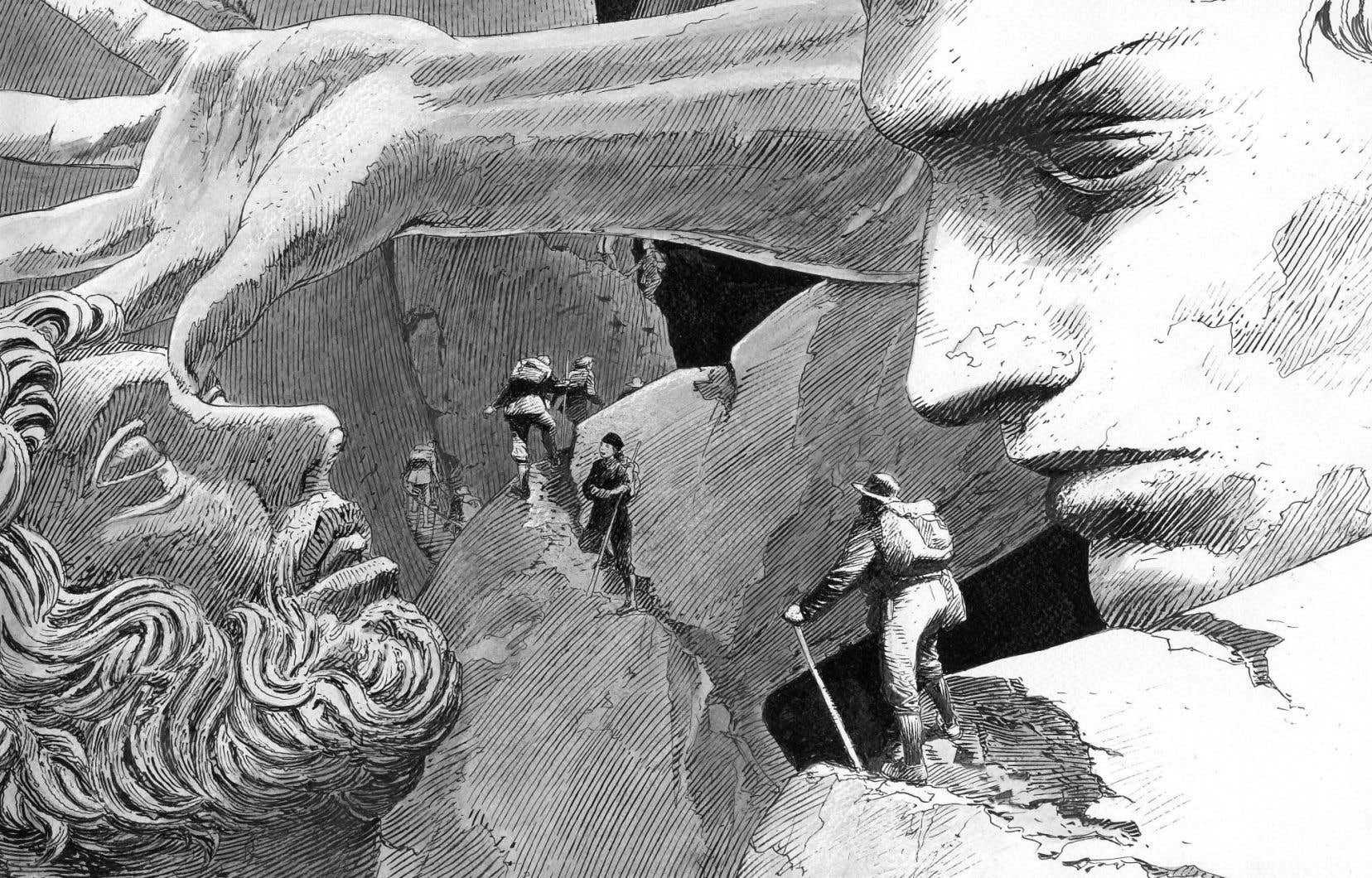 Détail d'une illustration de François Schuiten tirée du roman de Jacques Abeille «Les jardins statuaires»