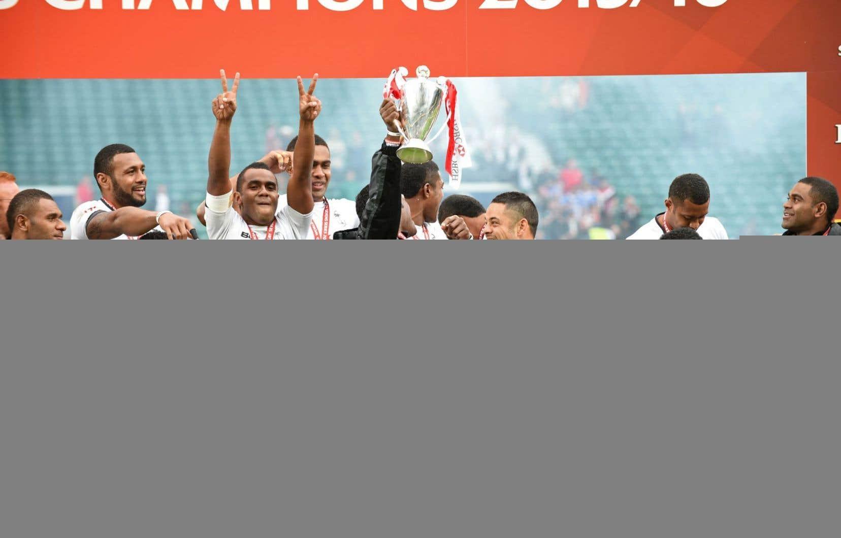 L'équipe de rugby du petit archipel des Fidji — photographiée ici en mai dernier — pourrait remporter la première médaille de l'histoire du pays.