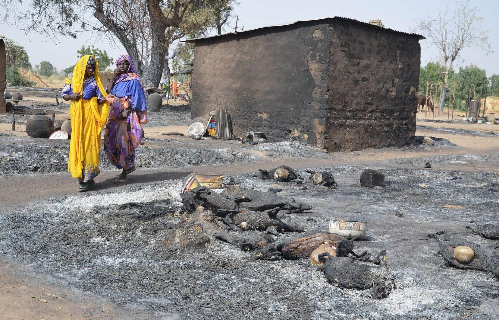 Des femmes ayant fui Boko Haram passaient devant du bétail incendié à Mairi, dans l'État de Borno, au nord-est du Nigéria, en février dernier.