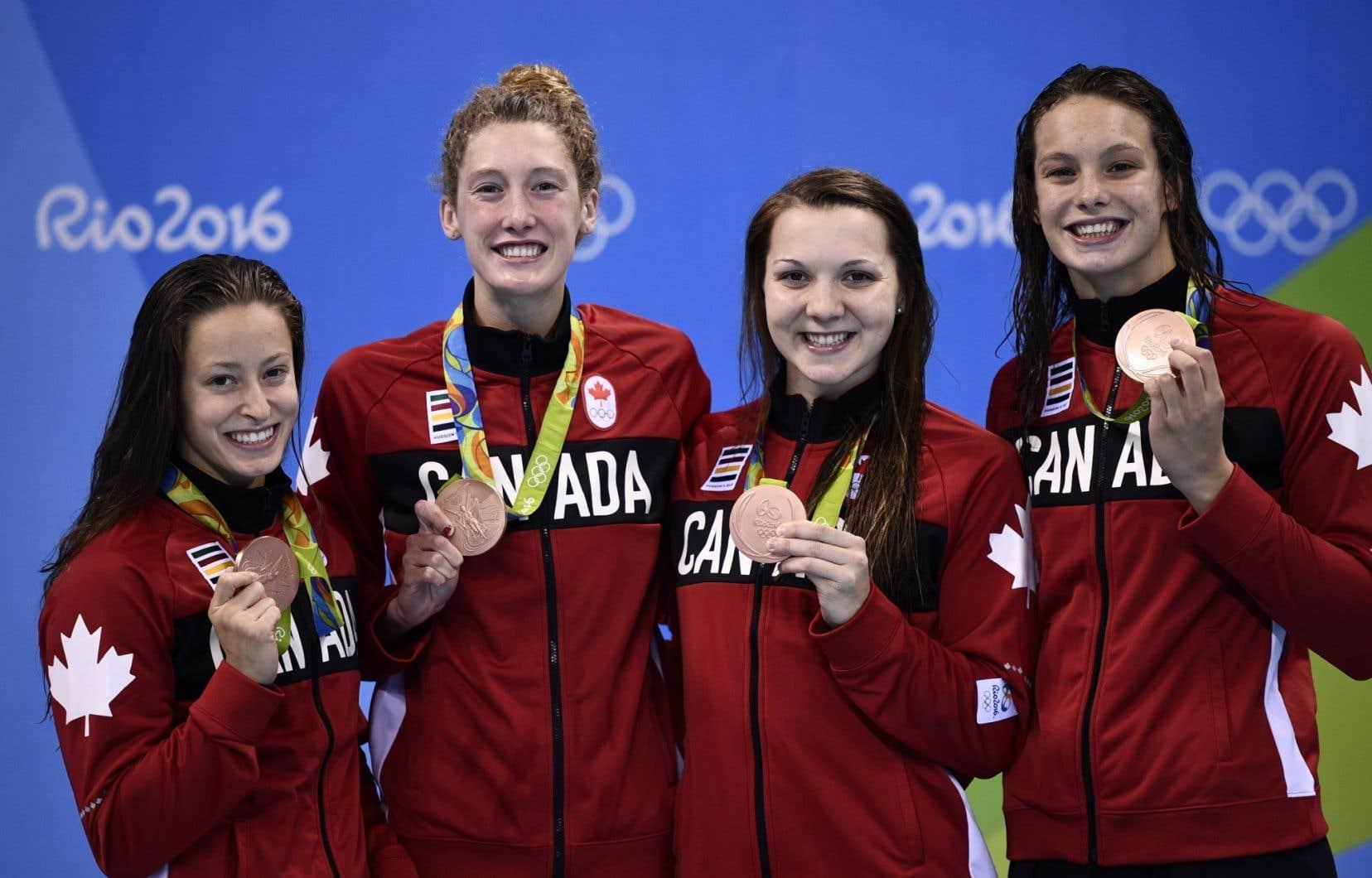 Les Canadiennes ont complété la course en un temps de sept minutes 45,39 secondes derrière les États-Unis (7:43,03) et l'Australie (7:44,87).