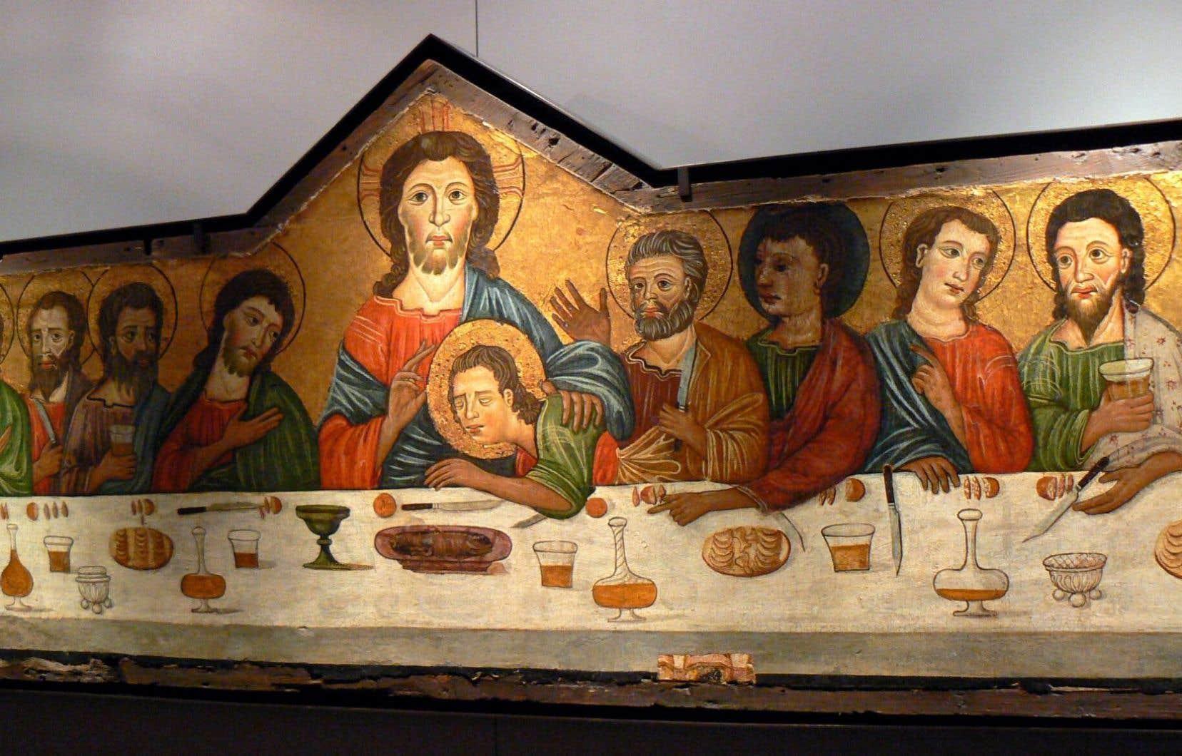 Détail de l'œuvre «La Cène», qui est le témoignage d'une mutation de l'espace pictural ayant eu lieu au XIIIe siècle.
