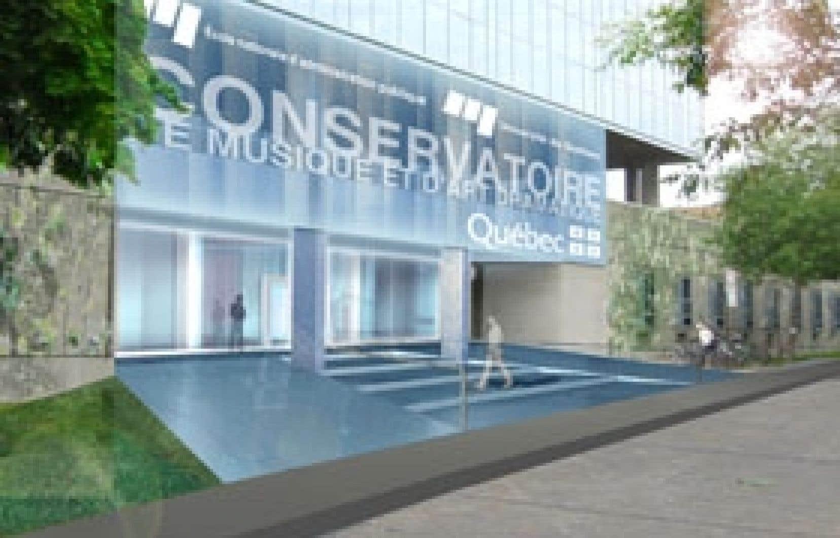 La nouvelle façade du Conservatoire de musique et d'art dra-matique à Montréal sera bientôt achevée.