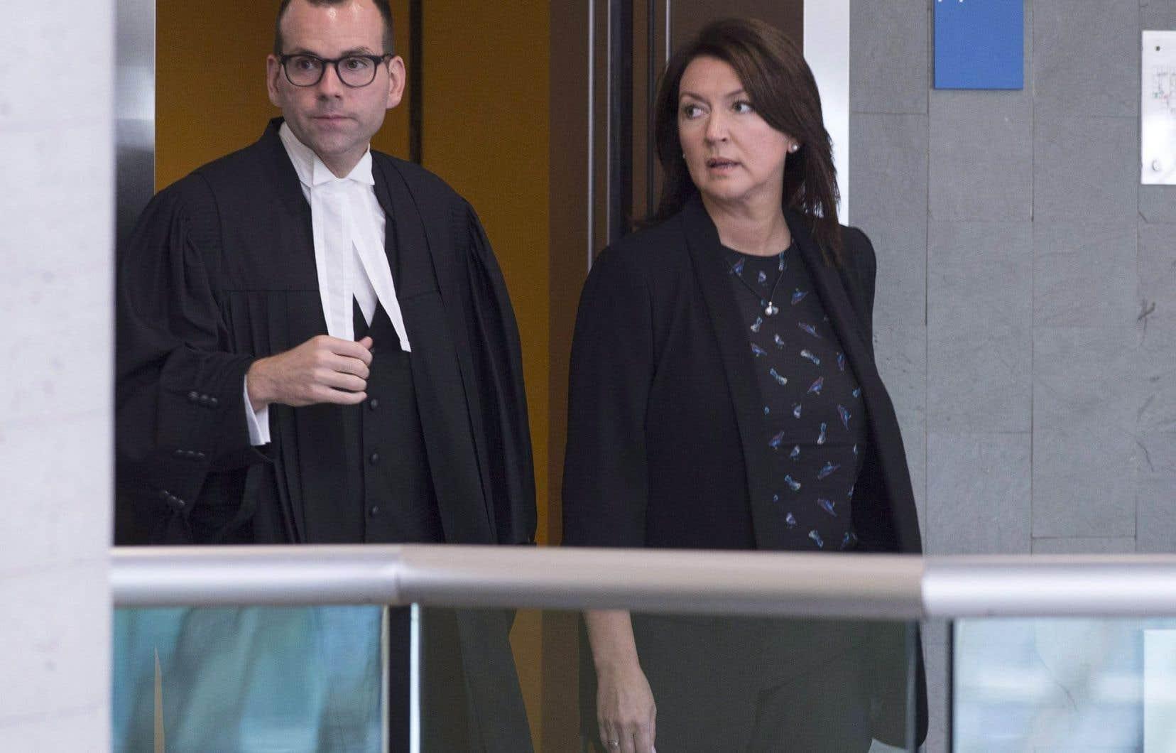 Nathalie Normandeau, ici au palais de justice de Québec lors d'une audience le 29 août,est notamment accusée d'abus de confiance, de fraude et de corruption.