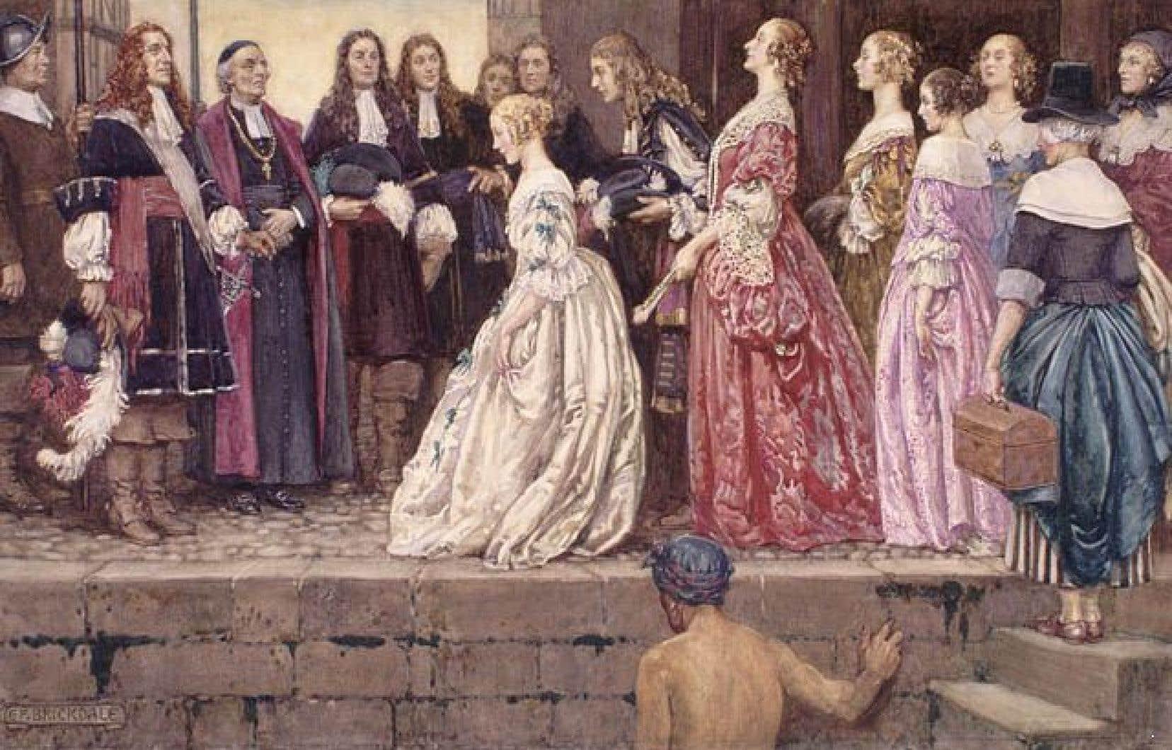 Arrivée des Filles du Roy à Québec, reçues par Jean Talon et Mgr Laval.
