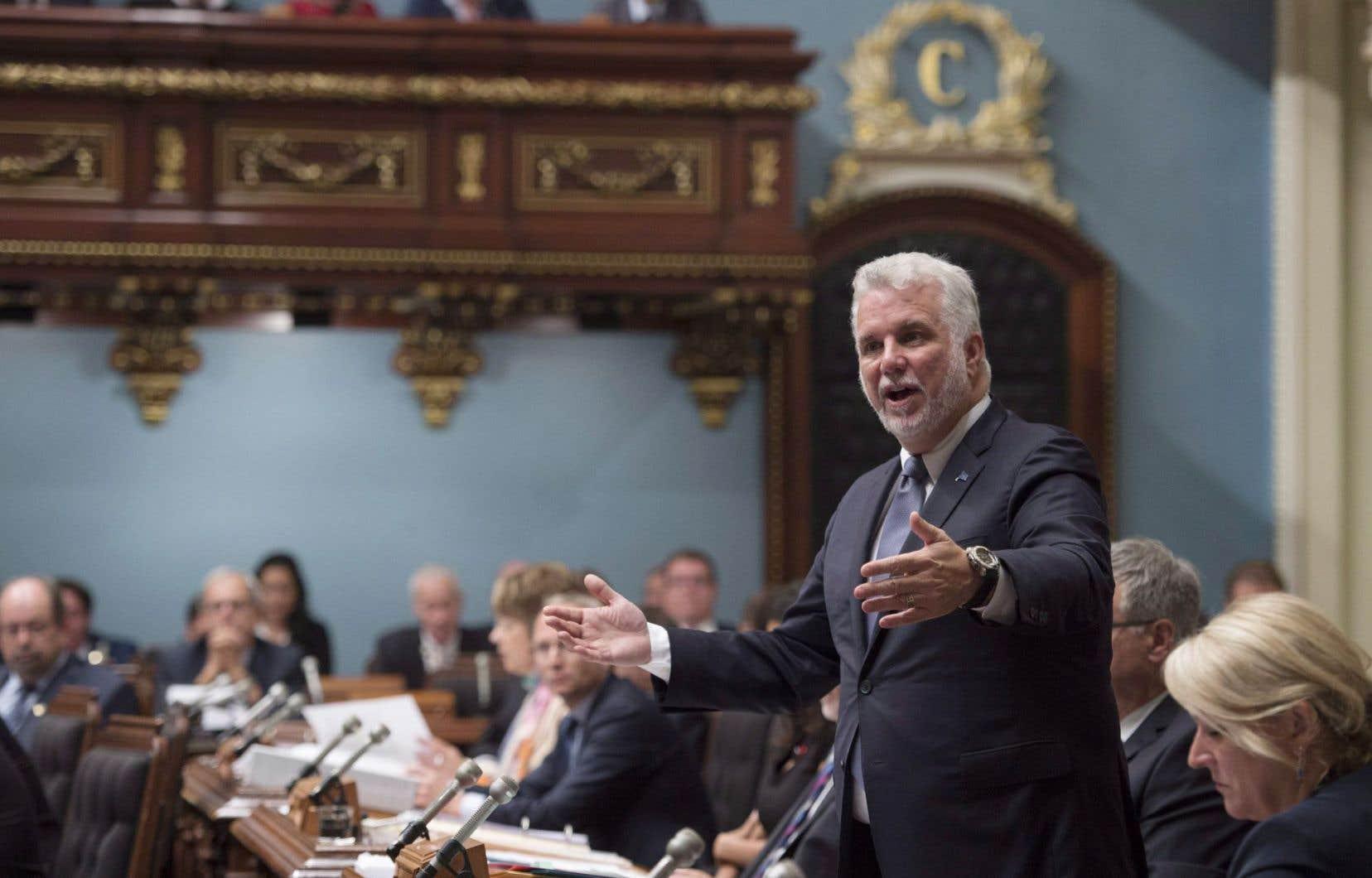 Le premier ministre Philippe Couillard à la période des questions de l'assemblée nationale à Québec, mardi