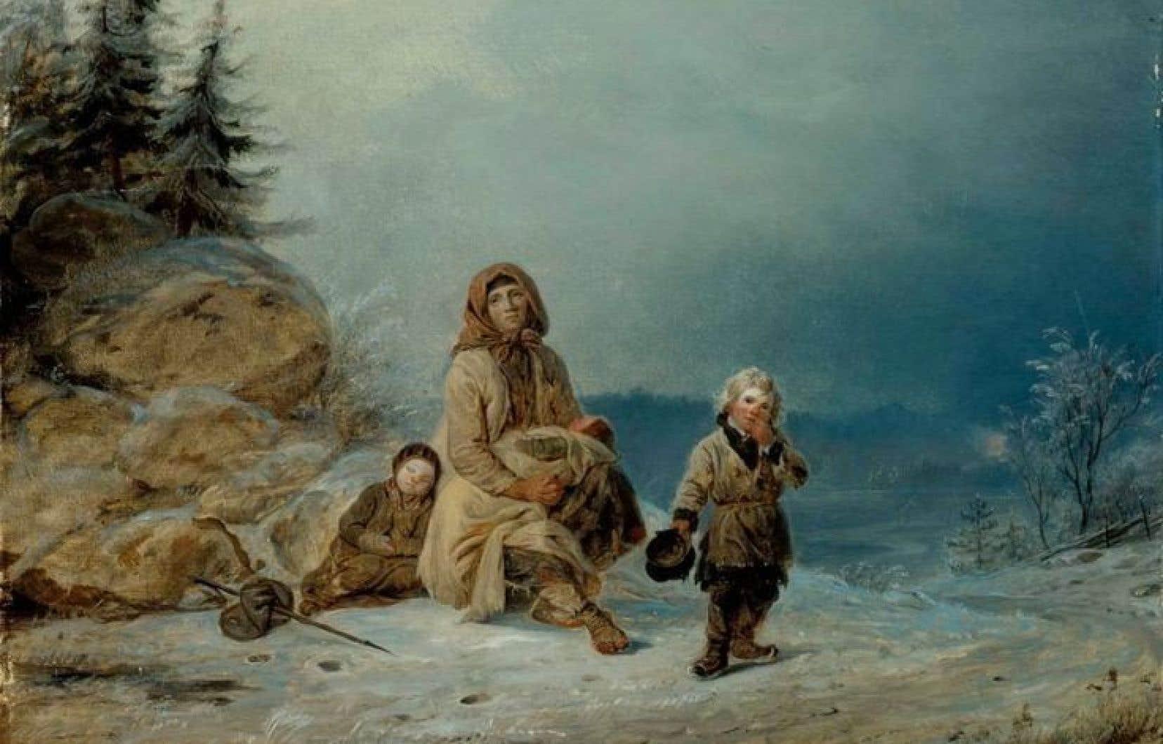 La famille Tiggar au bord de la route, œuvre du peintre finlandais Robert Wilhelm Ekman, 1860