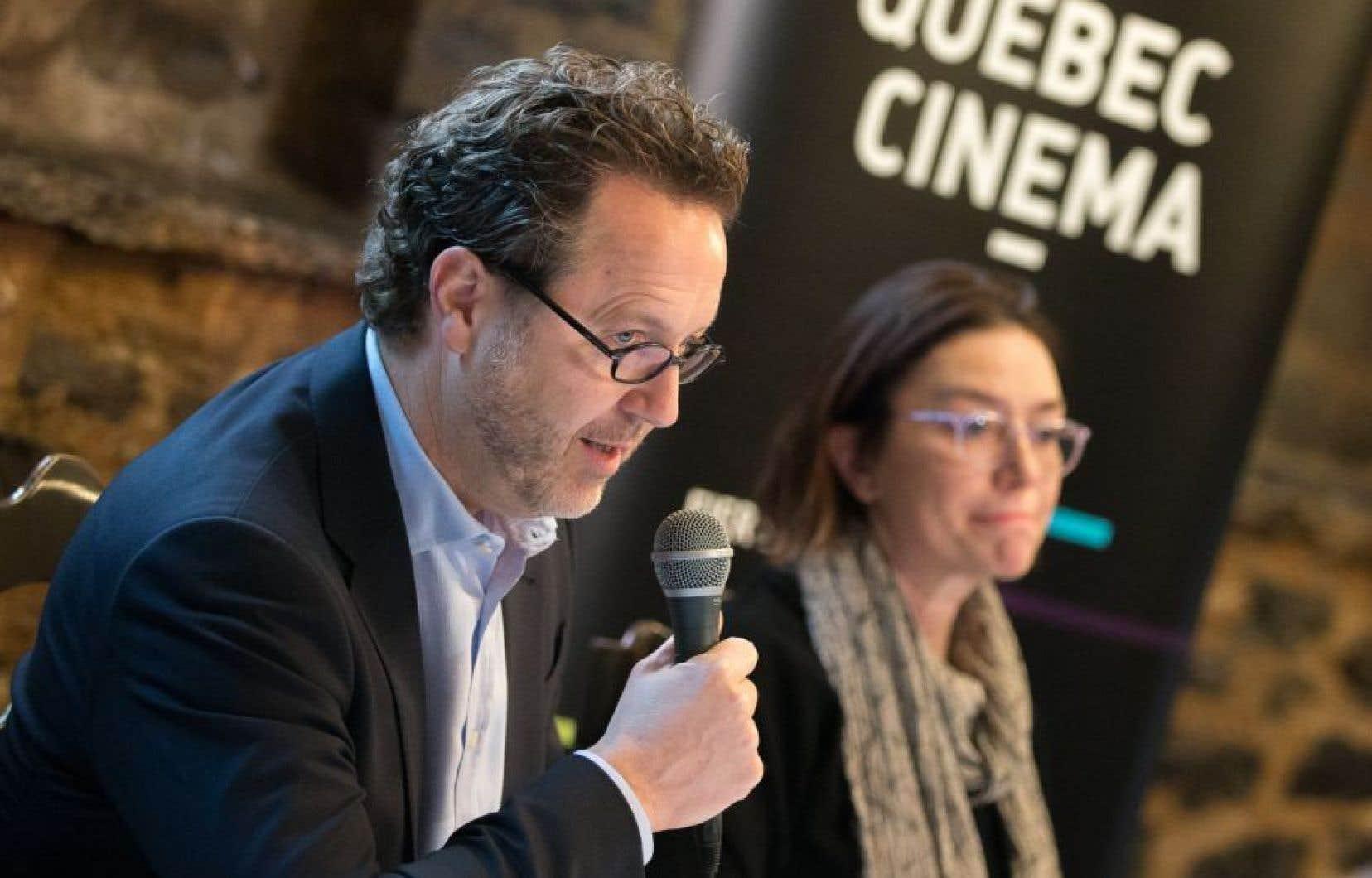 Le président du conseil d'administration de Québec Cinéma, Patrick Roy en compagnie de la directrice générale de Québec Cinéma, Ségolène Roederer