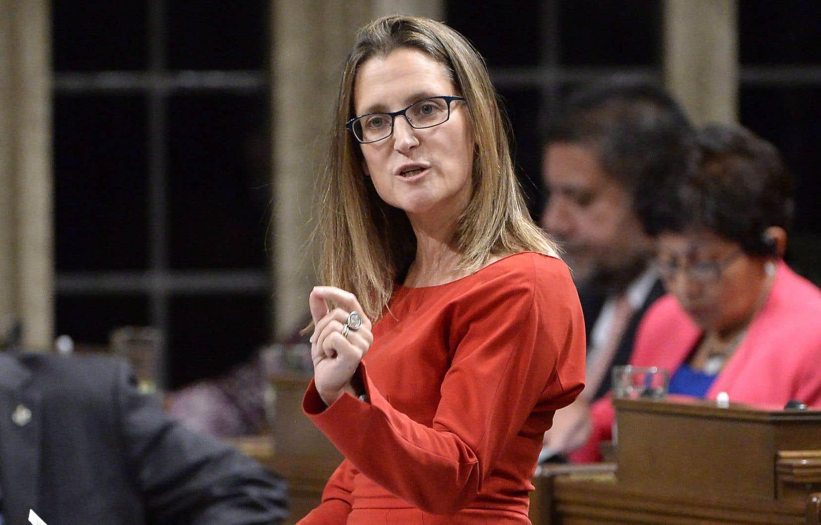 Chrystia Freeland a déclaré en point de presse lundi que la décision de quitter les négociations vendredi était réfléchie et nécessaire.