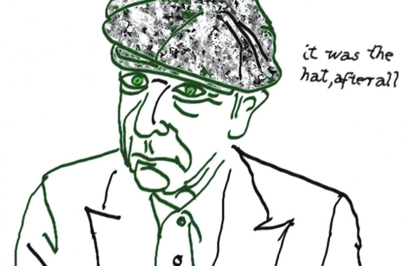 It Was the Hat, autoportrait à l'encre sur papier d'arches, l'une des œuvres que Leonard Cohen expose à Montréal.