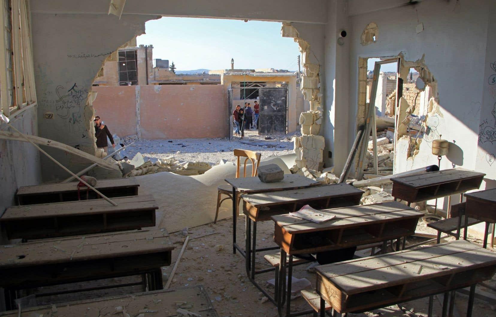 L'école bombardée jeudi, où22 enfants ont été tués.