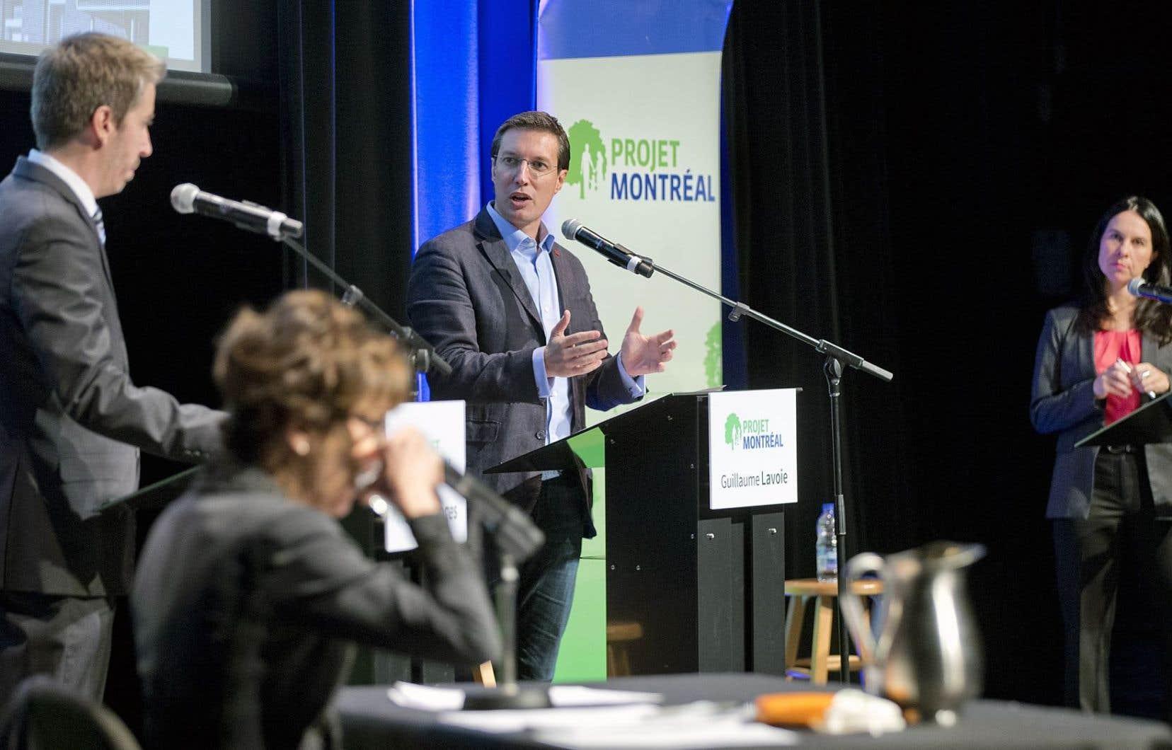 Les trois candidats à la chefferie de Projet Montréal, François Limoges, Guillaume Lavoie et Valérie Plante, ont croisé le fer pour la première fois dimanche.