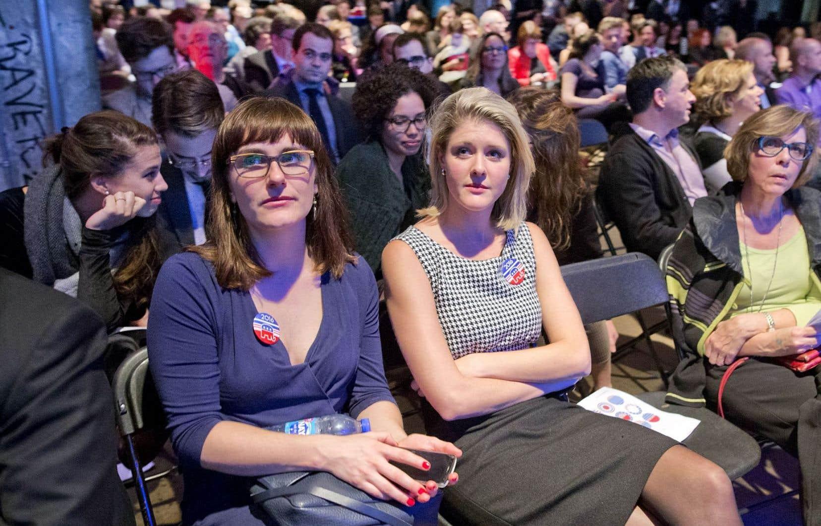 À la soirée électorale de la Chaire Raoul-Dandurand, à la Société des arts technologiques de Montréal, les mines étaient consternées devant l'ampleur du vote républicain.