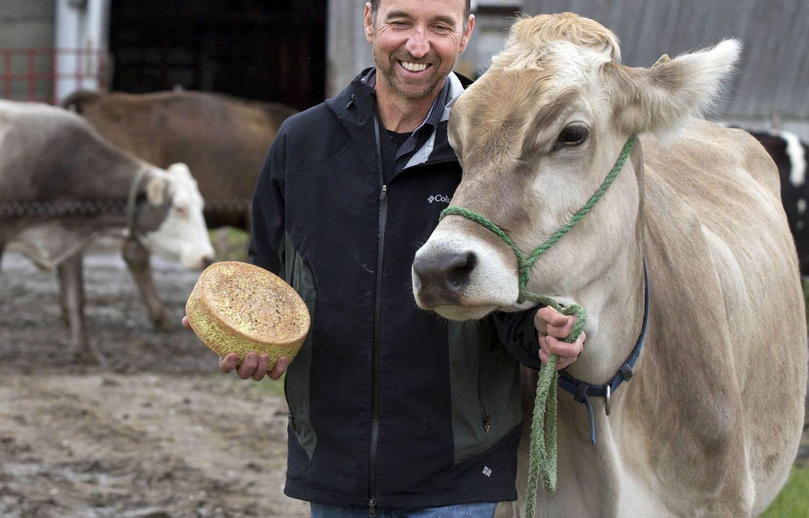 Daniel Gosselin, producteur laitier propriétaire d'une fromagerie artisanale, et l'une de ses vaches.