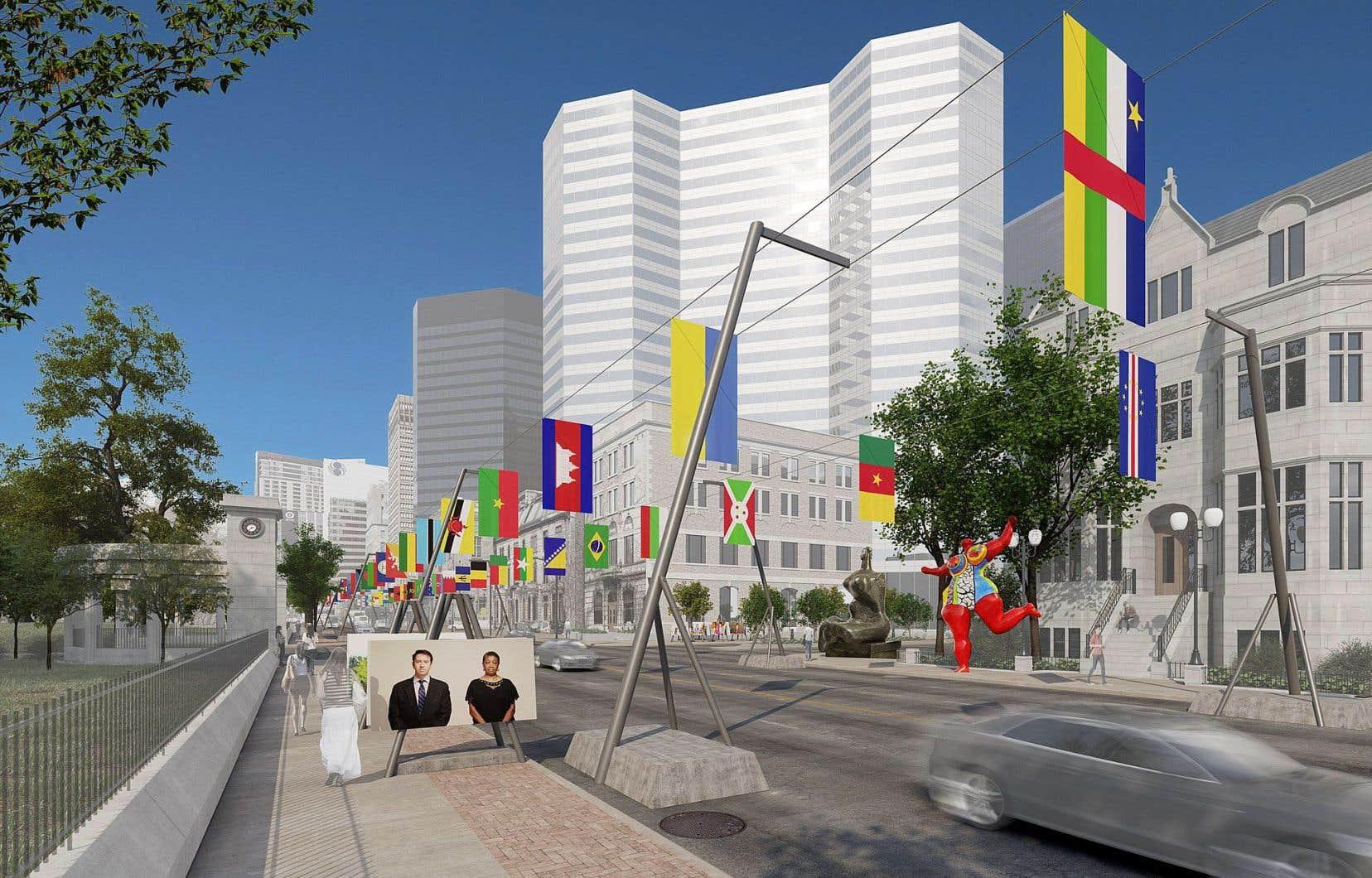 «La balade pour la paix. Un musée à ciel ouvert» trace un itinéraire entre le musée dédié à l'histoire de Montréal, soit le Musée McCord, et le nouveau Pavillon pour la paix Michal et Renata Hornstein du MBAM.