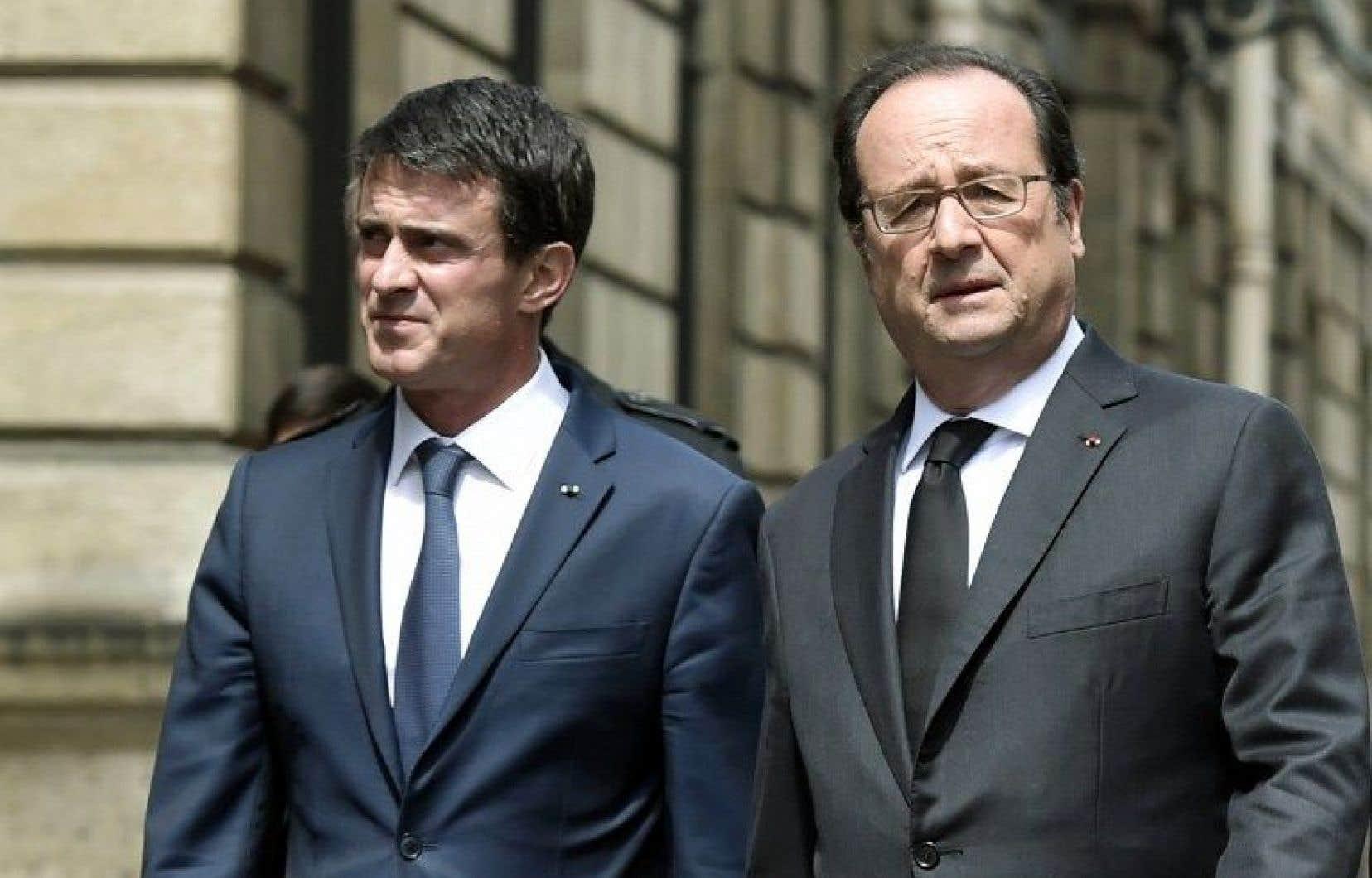 Le premier ministre de la France, Manuel Valls, et le président français, François Hollande