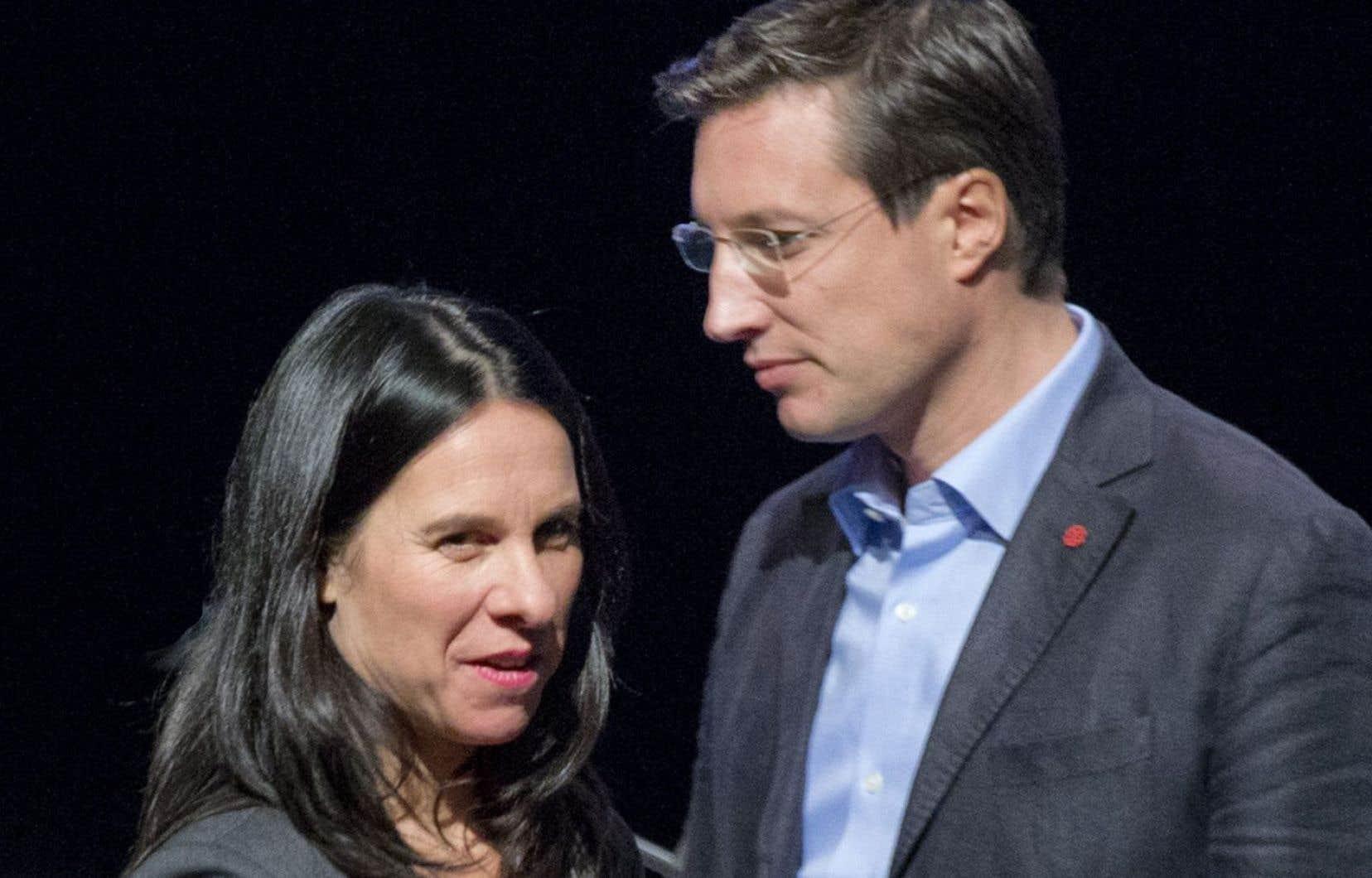Les deux candidats à la chefferie du parti, Valérie Plante et Guillaume Lavoie